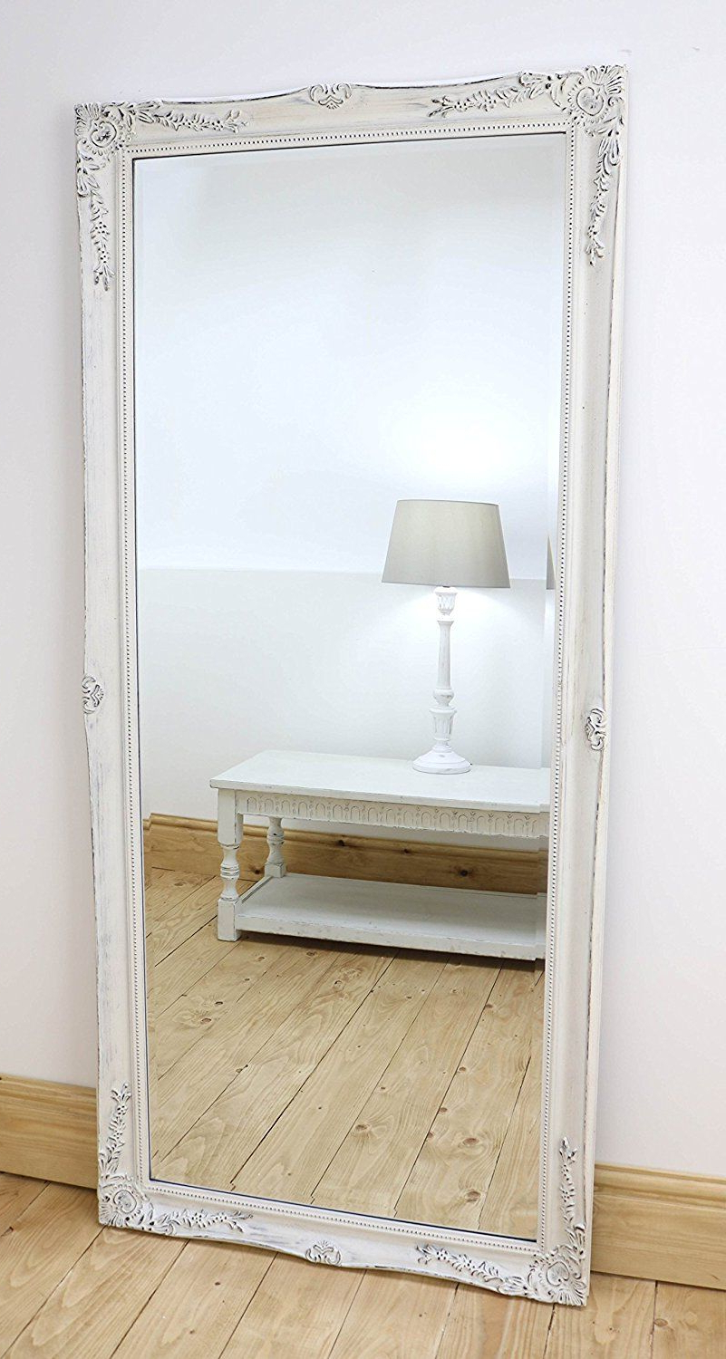 Jameson Modern & Contemporary Full Length Mirrors Pertaining To Well Liked Isabella Vintage White 'shabby Chic' Full Length Antique Framed (View 10 of 20)