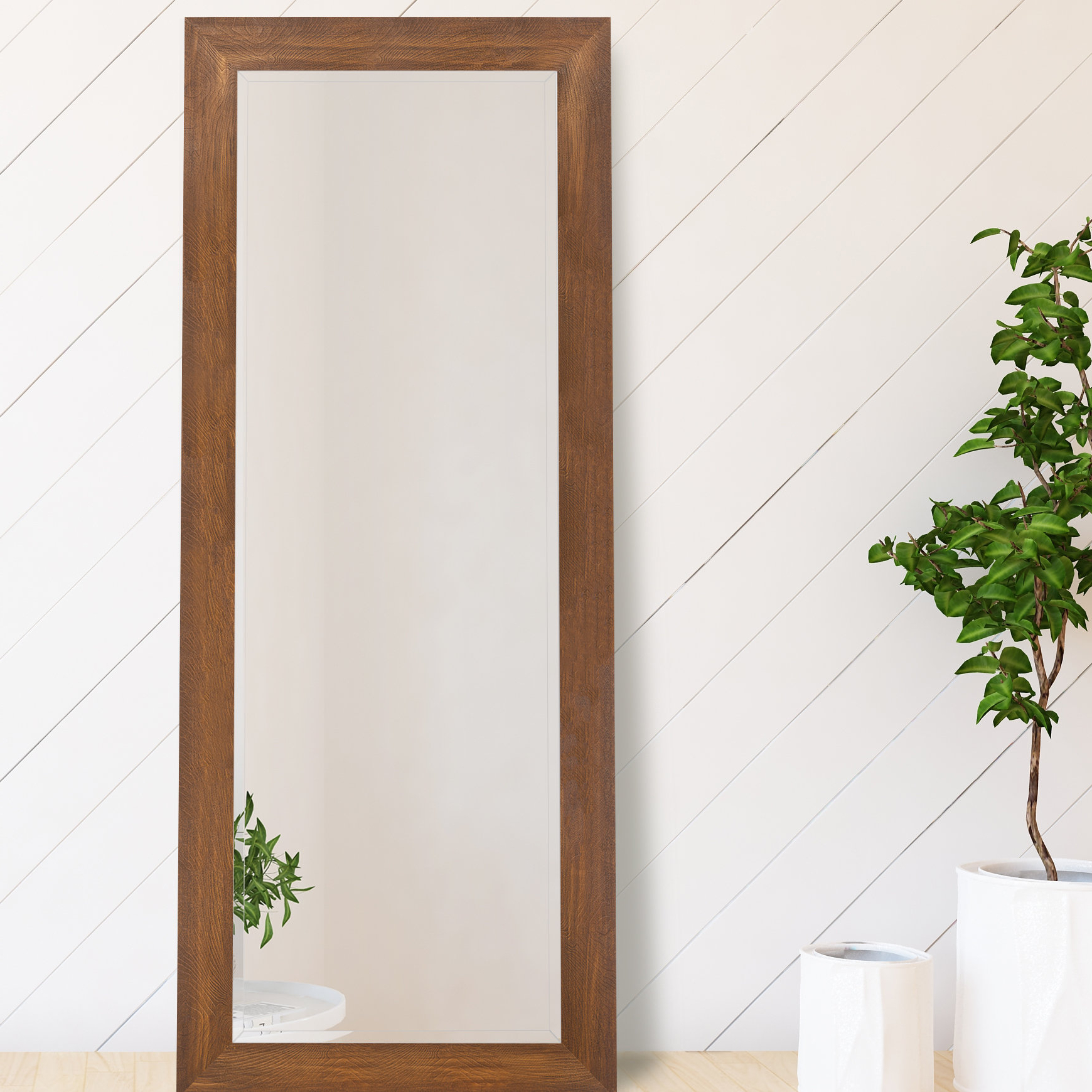 Jameson Modern & Contemporary Full Length Mirrors Regarding Most Popular Guidinha Woodgrain Framed Beveled Full Length Mirror (View 11 of 20)