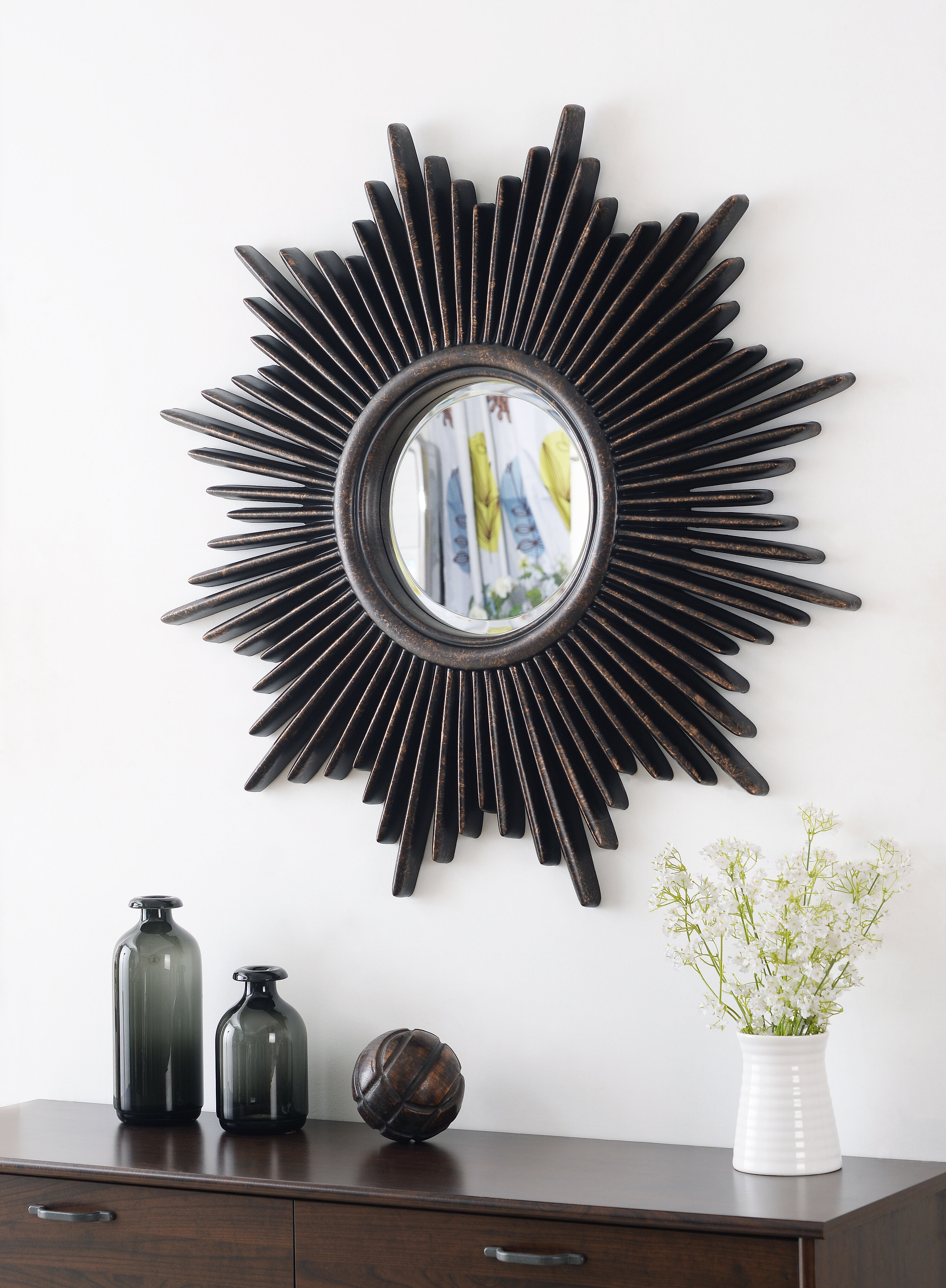 Jarrod Sunburst Accent Mirrors In Trendy Josephson Starburst Glam Beveled Accent Wall Mirror (View 8 of 20)