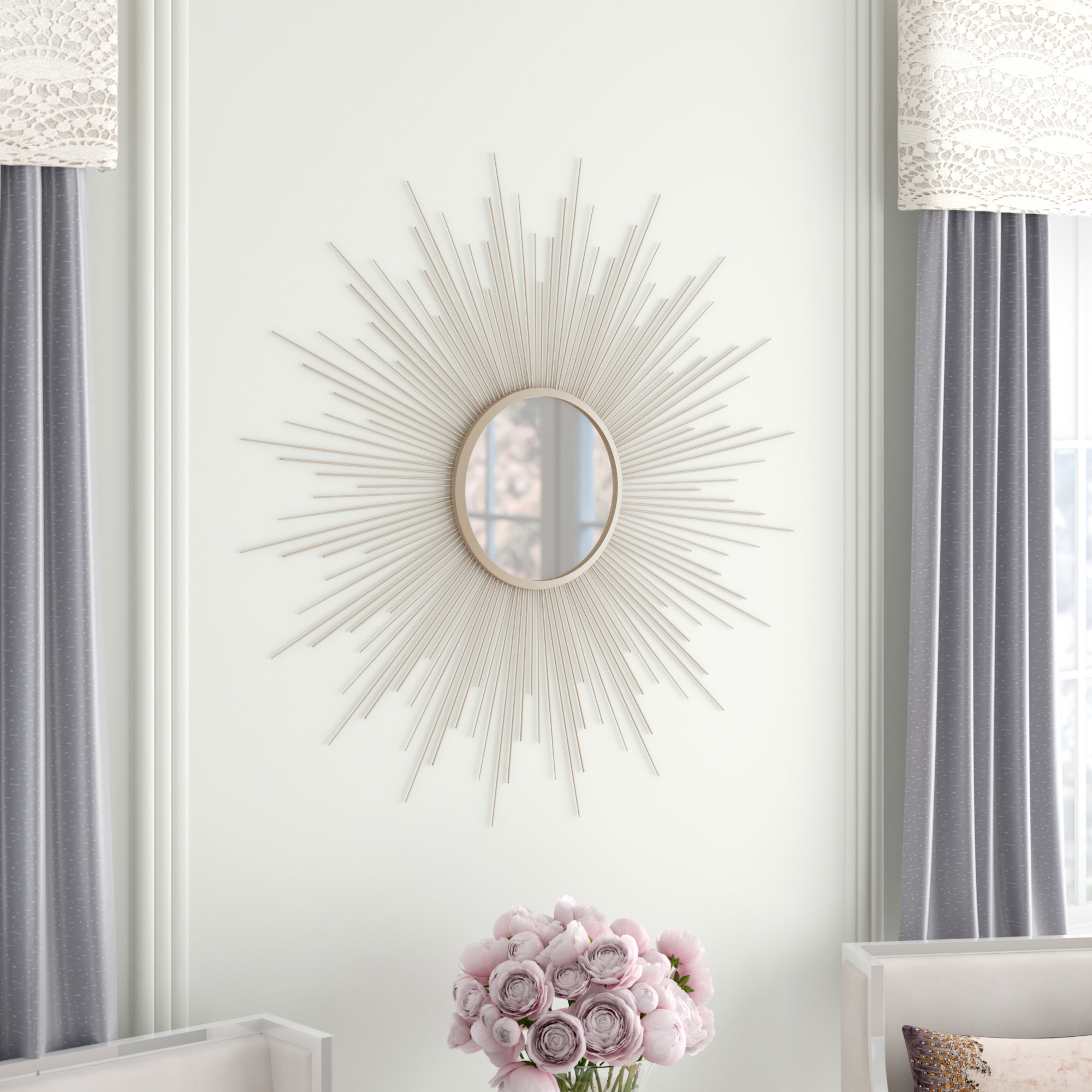 Jarrod Sunburst Accent Mirrors Throughout Recent Lathan Rays Sunburst Glam Accent Mirror (View 11 of 20)