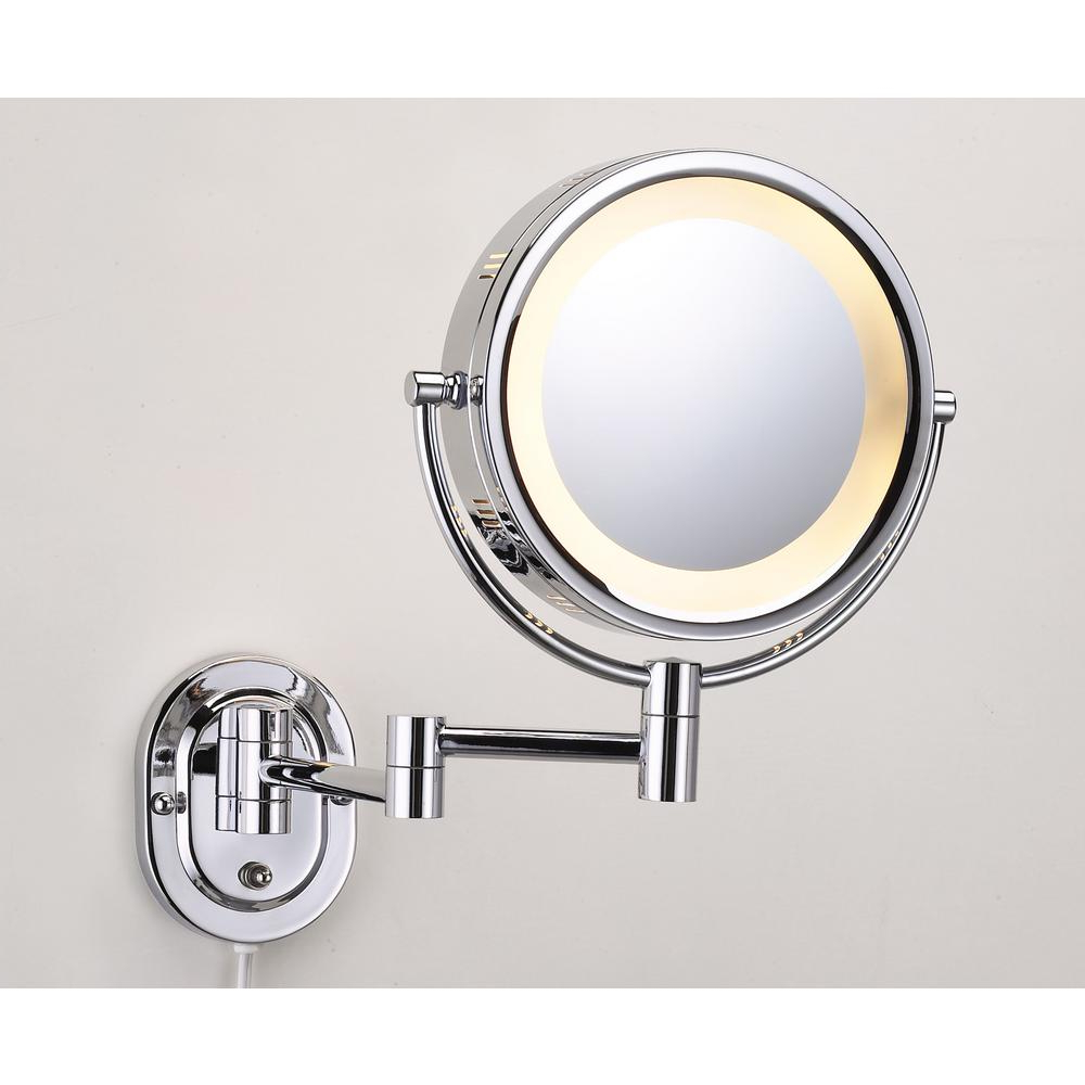 Jerdon 10 In. X 14 In. Lighted Wall Makeup Mirror In Chrome Inside Well Known Cosmetic Wall Mirrors (Gallery 19 of 20)