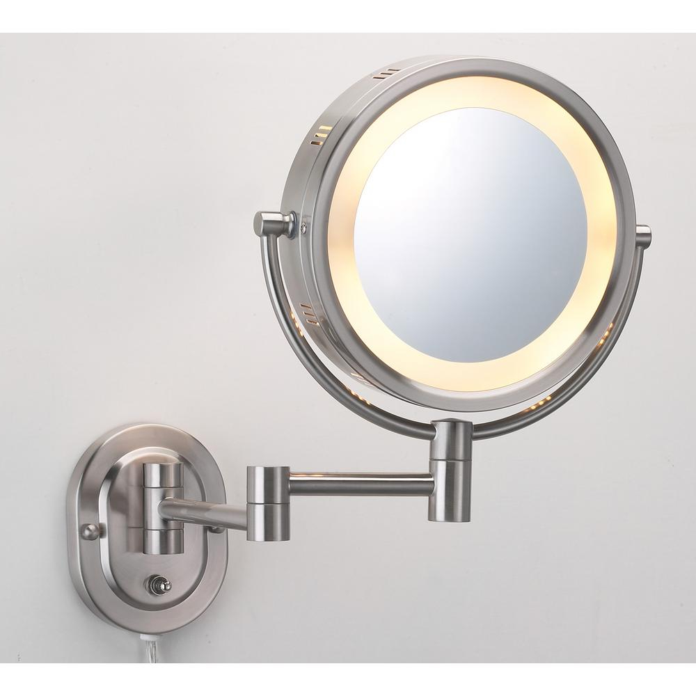 Jerdon 10 In. X 14 In. Lighted Wall Makeup Mirror In Nickel For Best And Newest Light Wall Mirrors (Gallery 20 of 20)