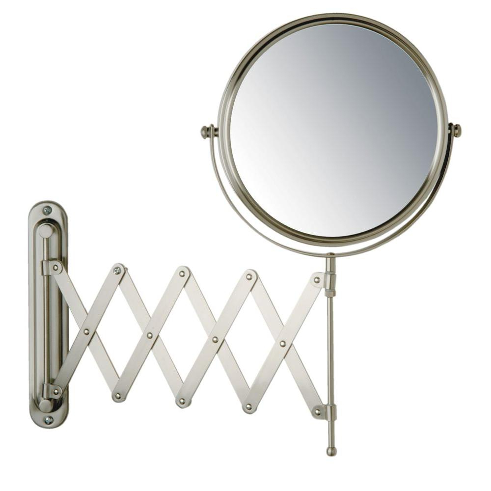 Jerdon 16 In. X 9 In. Wall Mount Makeup Mirror In Matte Nickel Throughout Current Extension Arm Wall Mirrors (Gallery 7 of 20)
