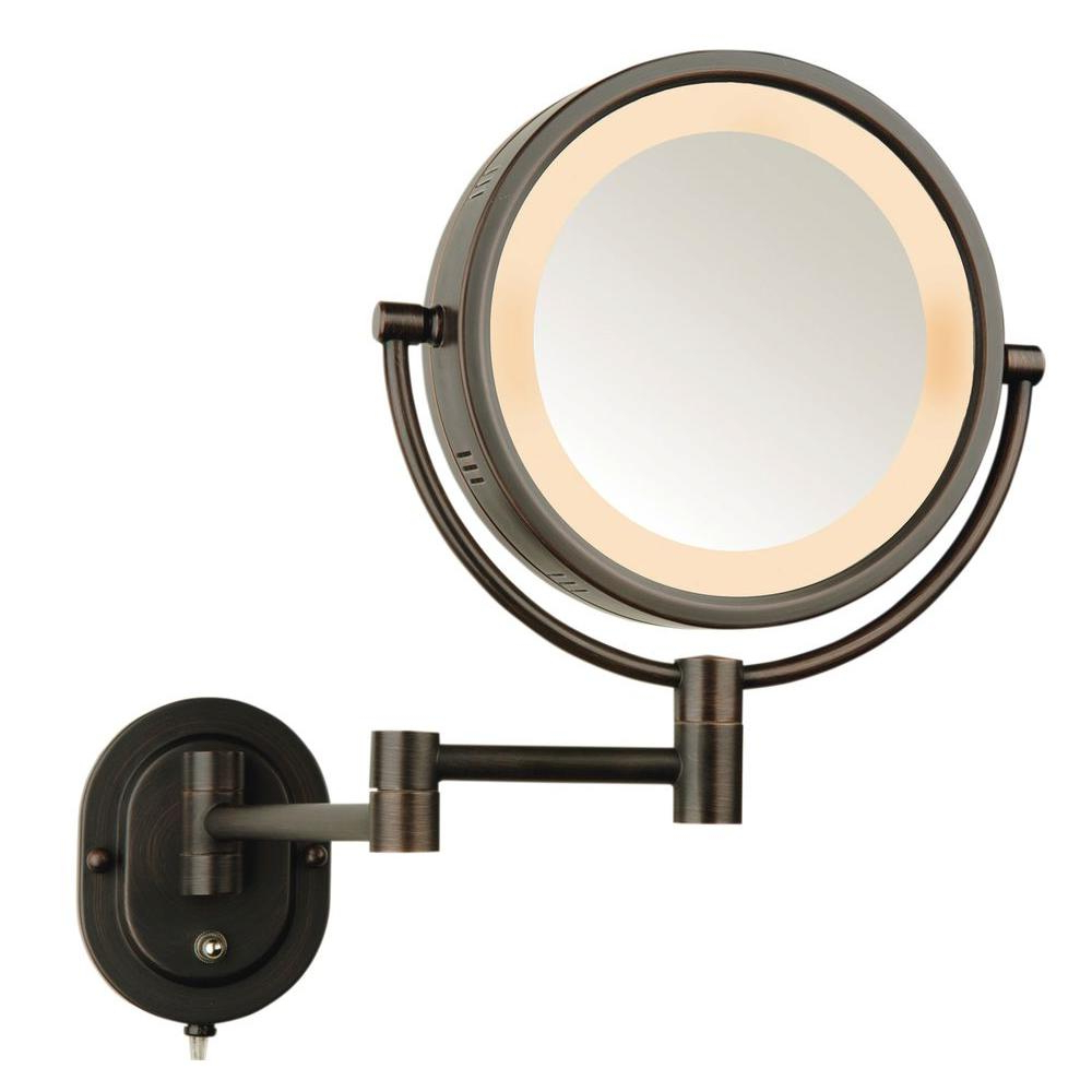 Jerdon 5X Halo Lighted 13 In. L X 9 In. W Wall Mount Makeup Mirror In Bronze With Most Popular Lighted Vanity Wall Mirrors (Gallery 9 of 20)