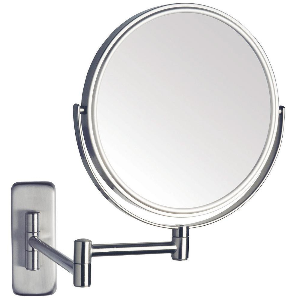 Jerdon 8 In. Dia Single Wall Mounted Makeup Mirror In Nickel Regarding Well Known Adjustable Wall Mirrors (Gallery 13 of 20)