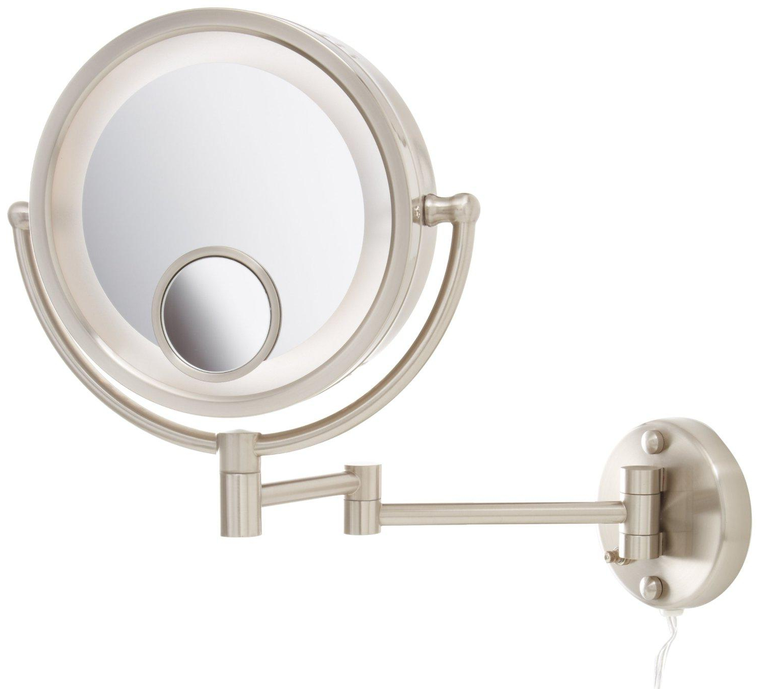 "Jerdon Hl8515N Lighted Wall Mount Makeup Mirror With 7X And 15X  Magnification, Nickel Finish, 8.5"" Intended For 2020 Magnifying Wall Mirrors For Bathroom (Gallery 3 of 20)"