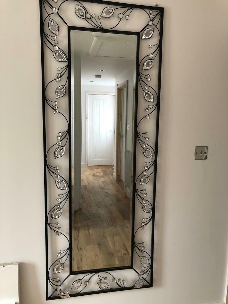 Jewelled Art Black Tall Wall Full Length Bling Glitter Mirror Pretty Diamonte Stunning Crystal (View 17 of 20)