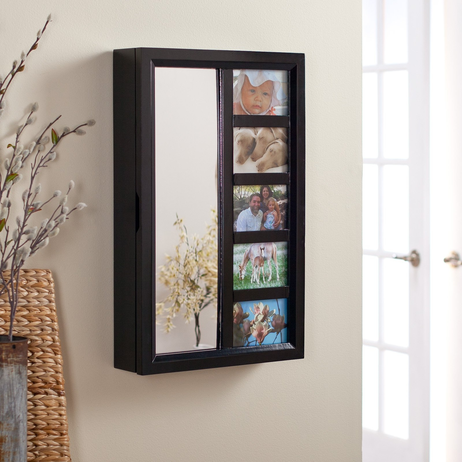 Jewelry Box Wall Mirrors Inside Latest Wall Mount Jewelry Armoire Mirror Black (View 6 of 20)