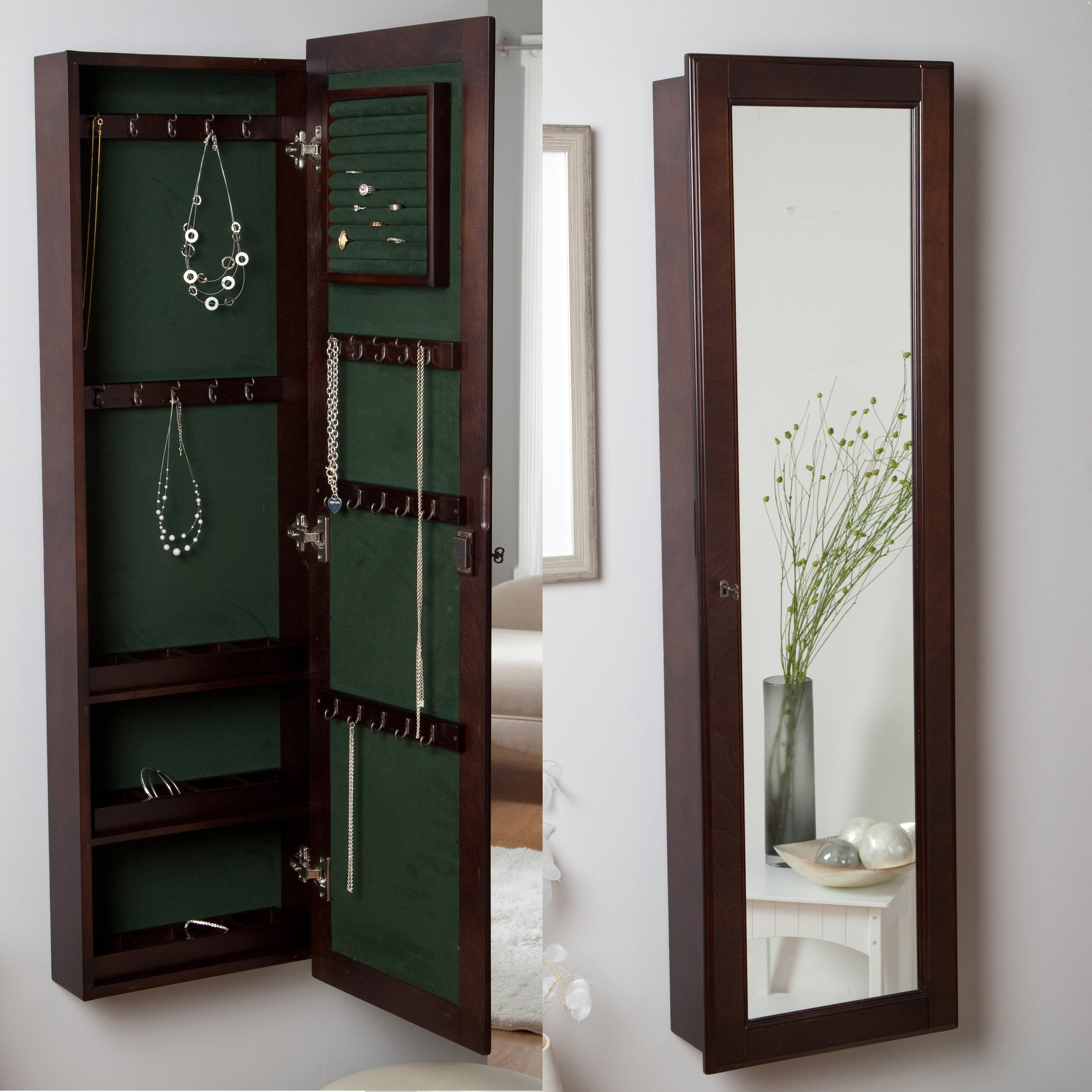 Jewelry Wall Mirrors Intended For Fashionable Wall Mounted Locking Wooden Jewelry Armoire – 14.5W X 50H In (View 4 of 20)