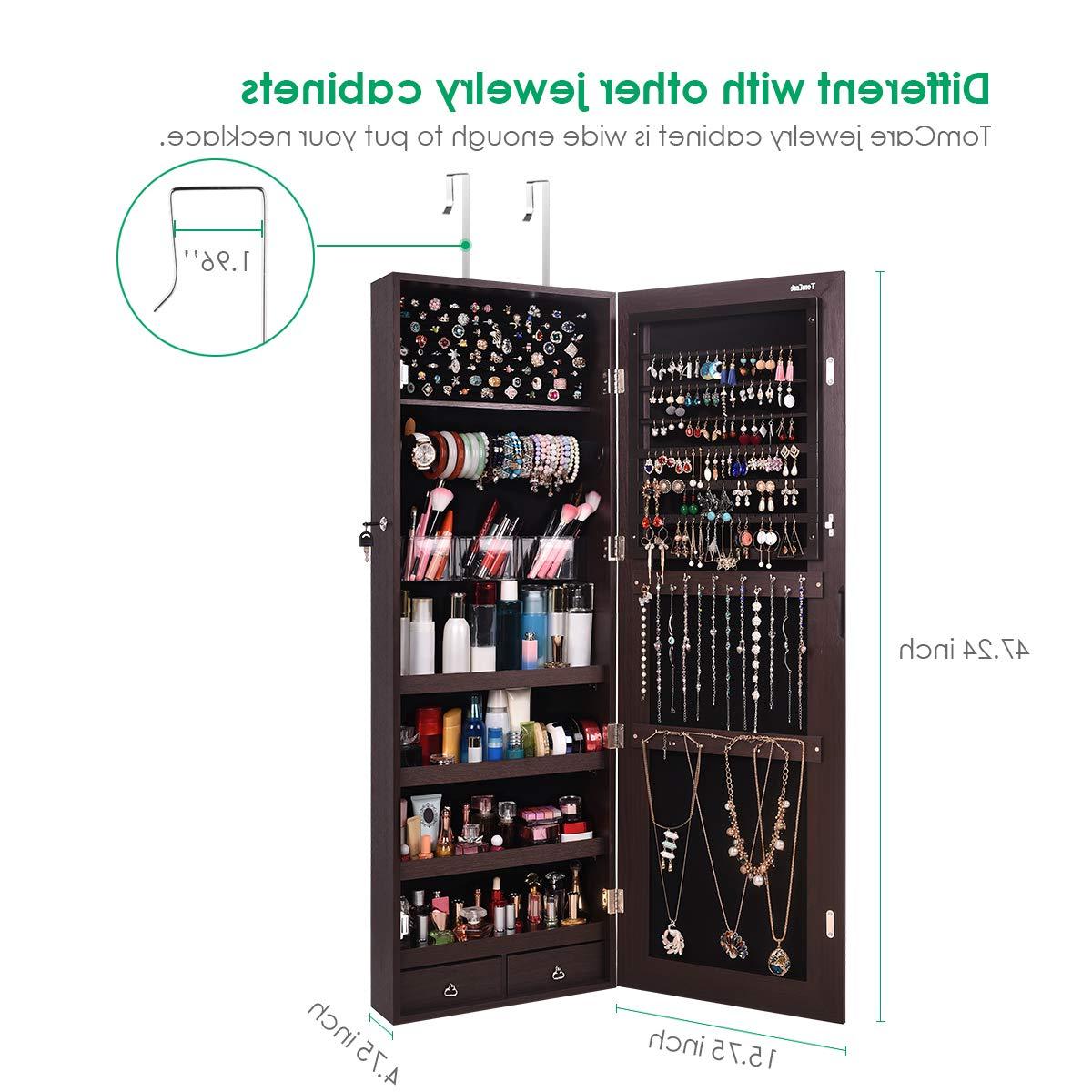 Jewelry Wall Mirrors With Regard To Famous Tomcare Jewelry Organizer Jewelry Cabinet Wall Door Mounted Jewelry Armoire  Lockable With 2 Drawers Jewelry Box Frameless Mirror Earring Organizer (Gallery 20 of 20)
