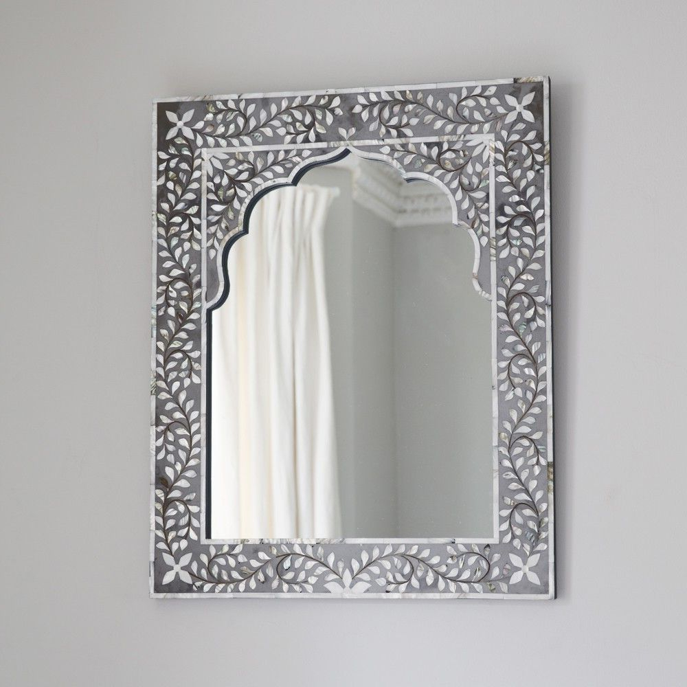 Kasbah Mother Of Pearl Wall Mirror In Grey (View 6 of 20)
