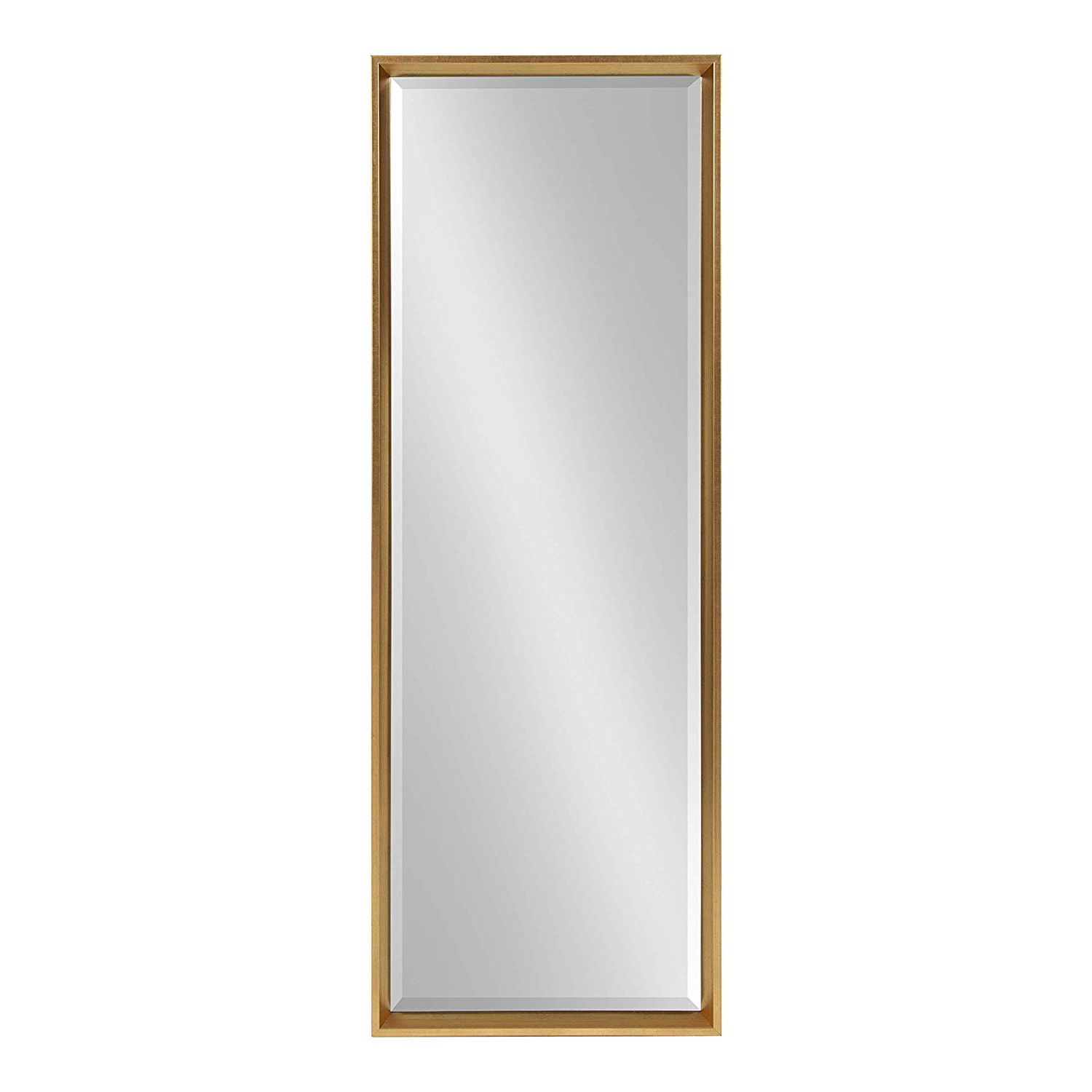 Kate And Laurel Calter Modern Framed Full Length Beveled Wall Mirror,  17.5X49.5 Gold Within Trendy Modern Full Length Wall Mirrors (Gallery 7 of 20)