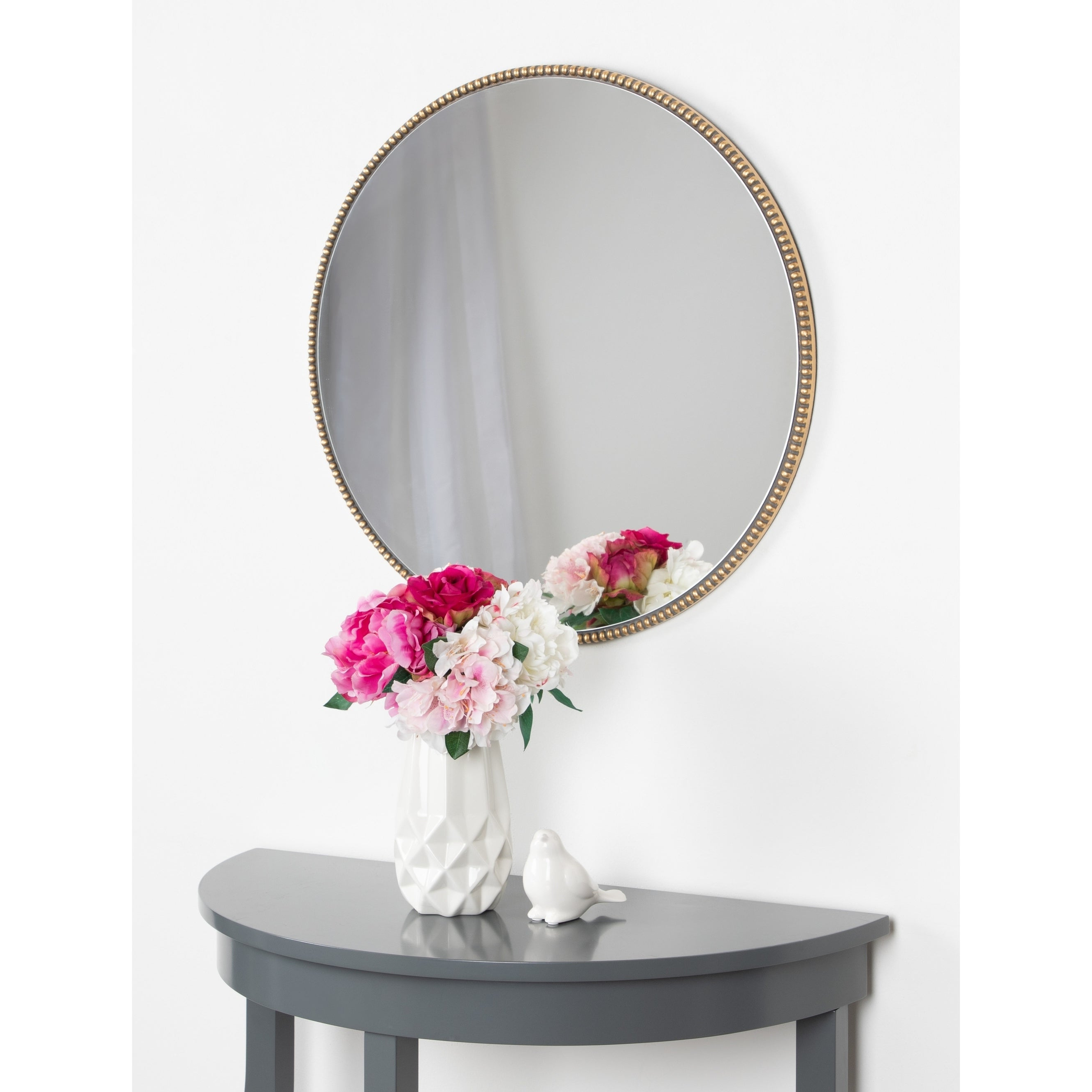 """Kate And Laurel Gwendolyn Round Beaded Accent Wall Mirror – Gold – 23.6""""  Diameter Regarding Well Liked Beaded Accent Wall Mirrors (Gallery 17 of 20)"""