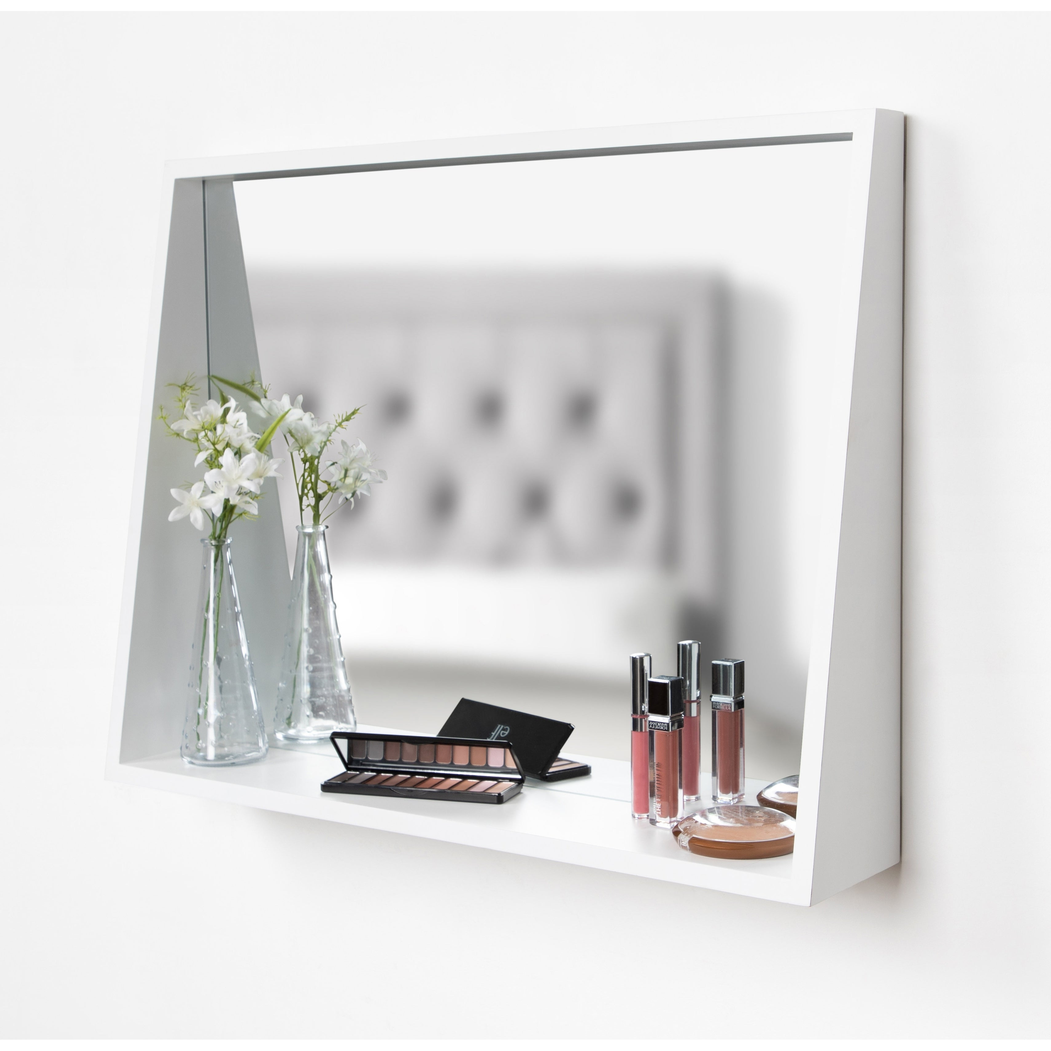 Kate And Laurel Jarden Recessed Wall Mirror With Shelf – White – 20x26 With Current Wall Mirrors With Shelf (View 20 of 20)