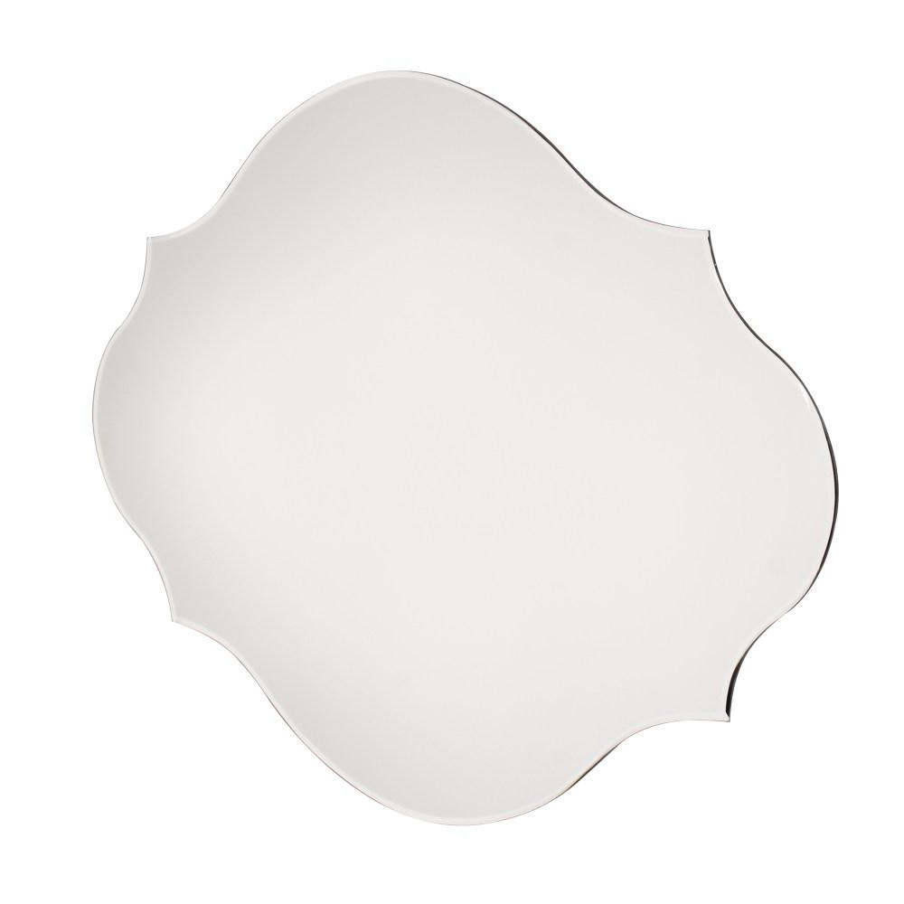Kate And Laurel Reign Oval Silver Frameless Mirror 210680 – The Home For Popular Reign Frameless Oval Scalloped Beveled Wall Mirrors (Gallery 8 of 20)