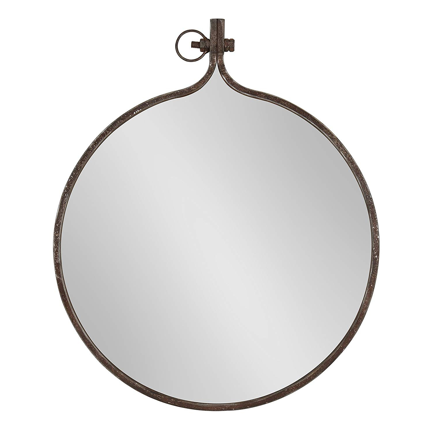 Kate And Laurel Yitro Round Industrial Rustic Metal Framed Wall Mirror, (View 8 of 20)