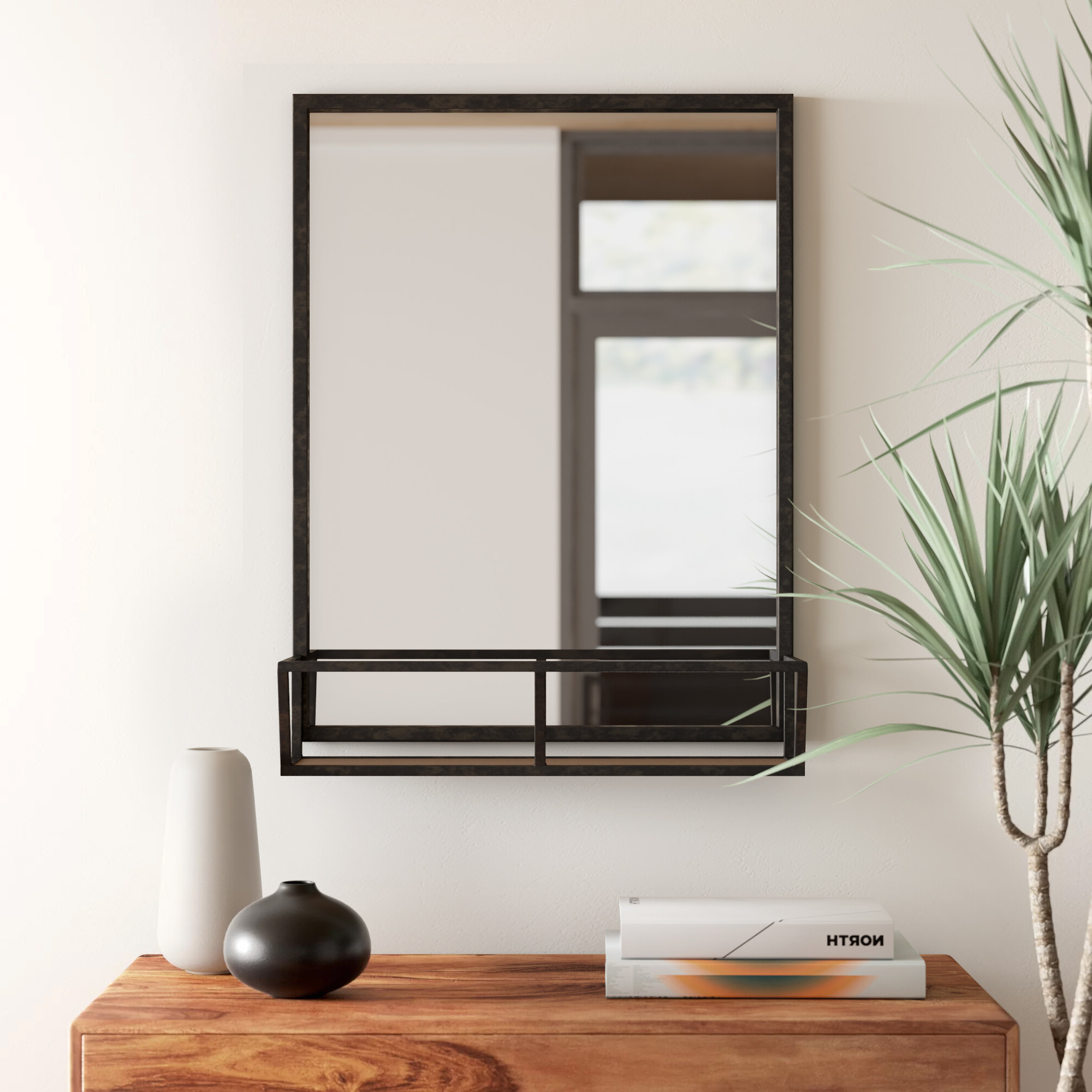 Kaufman Industrial Accent Mirror With Shelves Throughout Famous Austin Industrial Accent Mirrors (View 11 of 20)