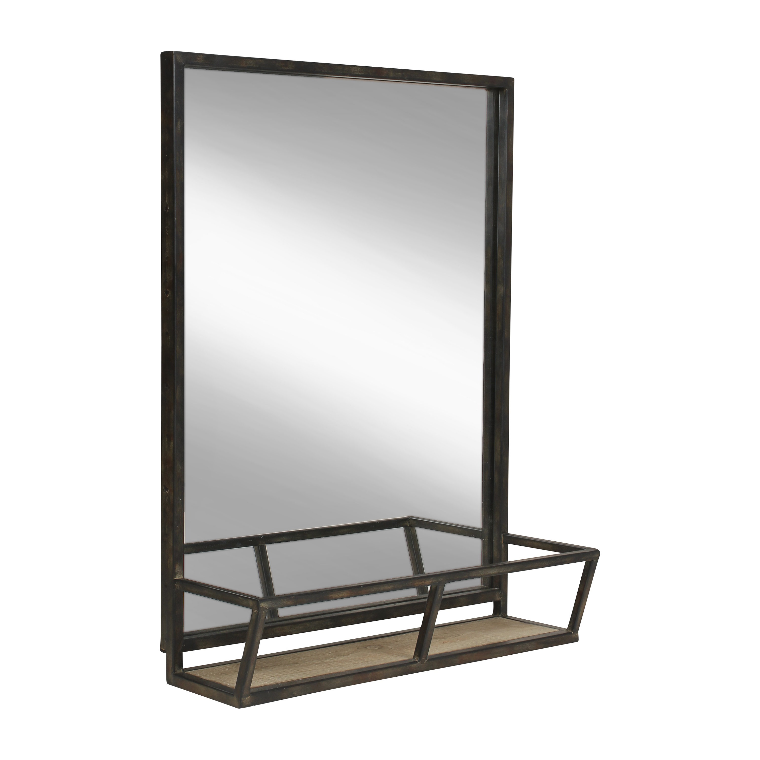 Kaufman Industrial Accent Mirror With Shelves With Regard To Most Popular Peetz Modern Rustic Accent Mirrors (View 20 of 20)