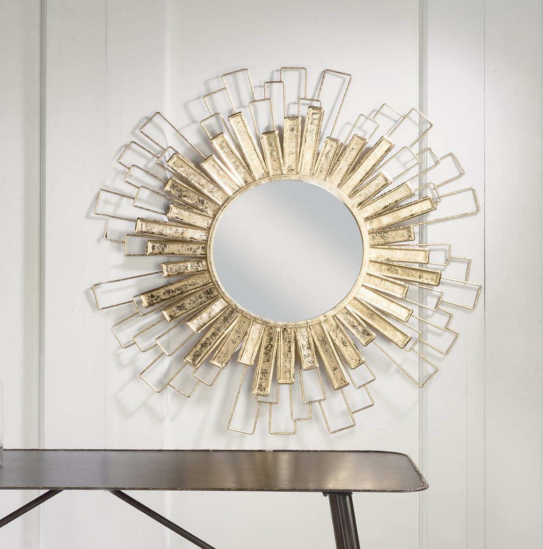 Kempner Foil Sunburst Beveled Venetian Wall Mirror With Well Known Estrela Modern Sunburst Metal Wall Mirrors (View 14 of 20)