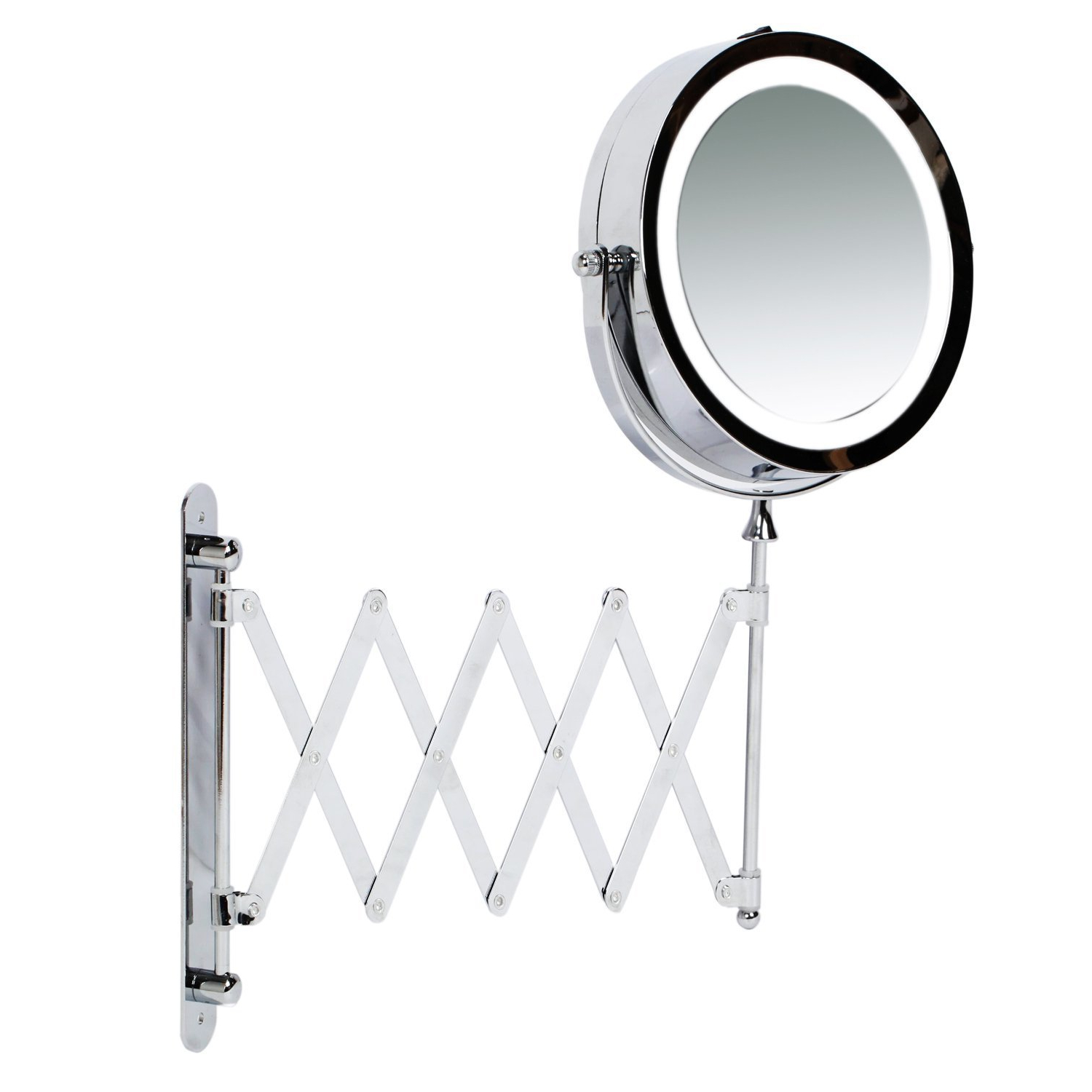 "Kenley Wall Mounted Magnifying Makeup Mirror With Led Light – Extending  Vanity Shaving Lighted 7"" Intended For Fashionable Extending Wall Mirrors (View 15 of 20)"