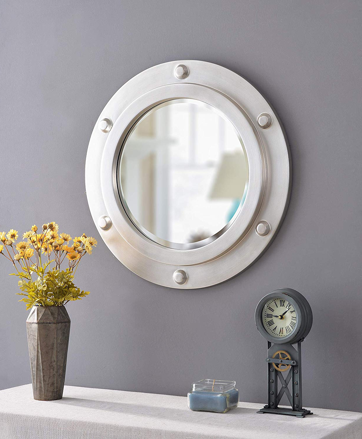 Kenroy Home Portside Wall Mirror, 24 Inch Diameter, Weathered Steel Intended For Famous Porthole Wall Mirrors (Gallery 17 of 20)