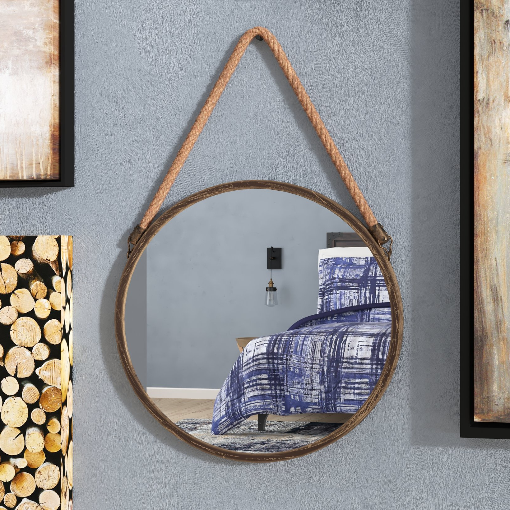 Kentwood Round Wall Mirrors With Famous Kusilvak Round Accent Mirror (View 15 of 20)