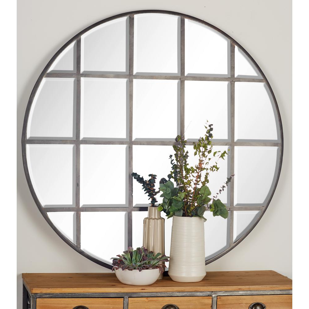 Kinley Accent Mirrors With Regard To Widely Used Litton Lane 48 In. Round Silver Decorative Wall Mirror With Grid (Gallery 14 of 20)