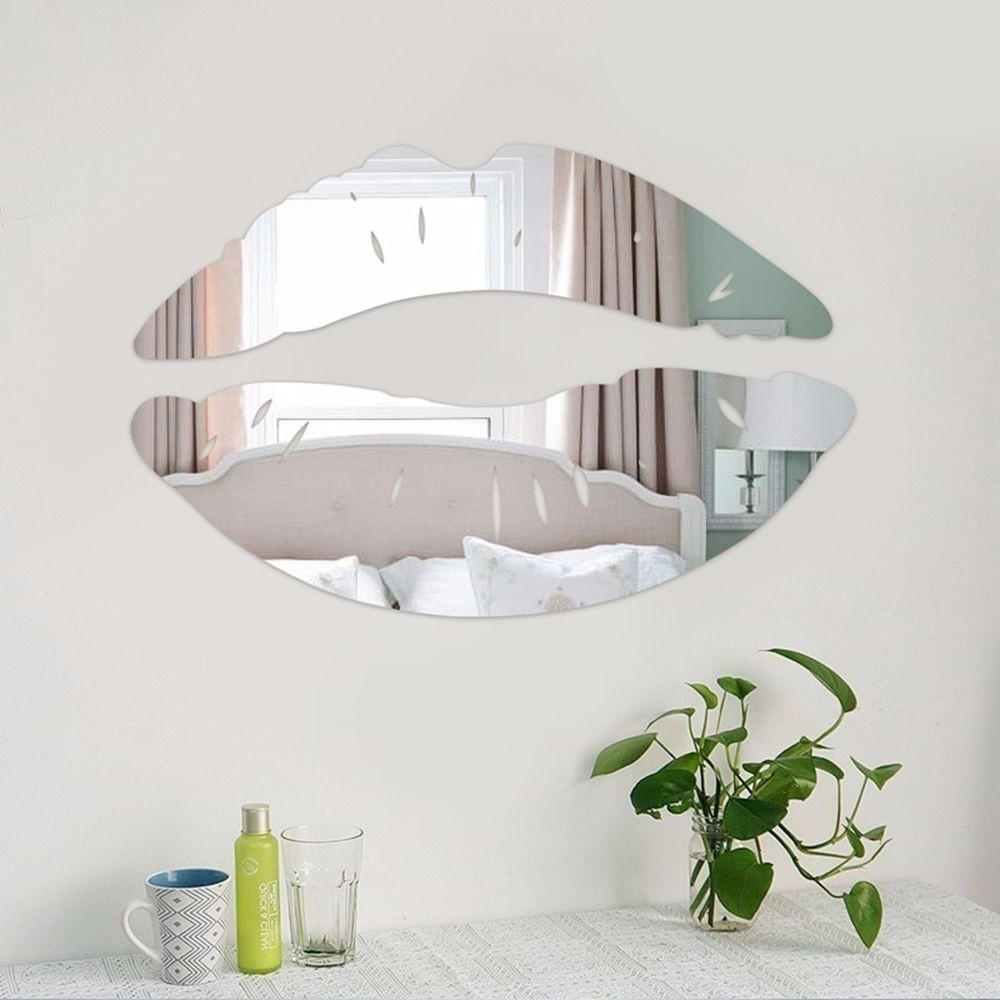 Kissing Lips Acrylic Mirror Wall Stickers Modern Creative Art 3d Wall Decals Home Bathroom Decor Decoration For Popular Wall Mirror Decals (View 17 of 20)