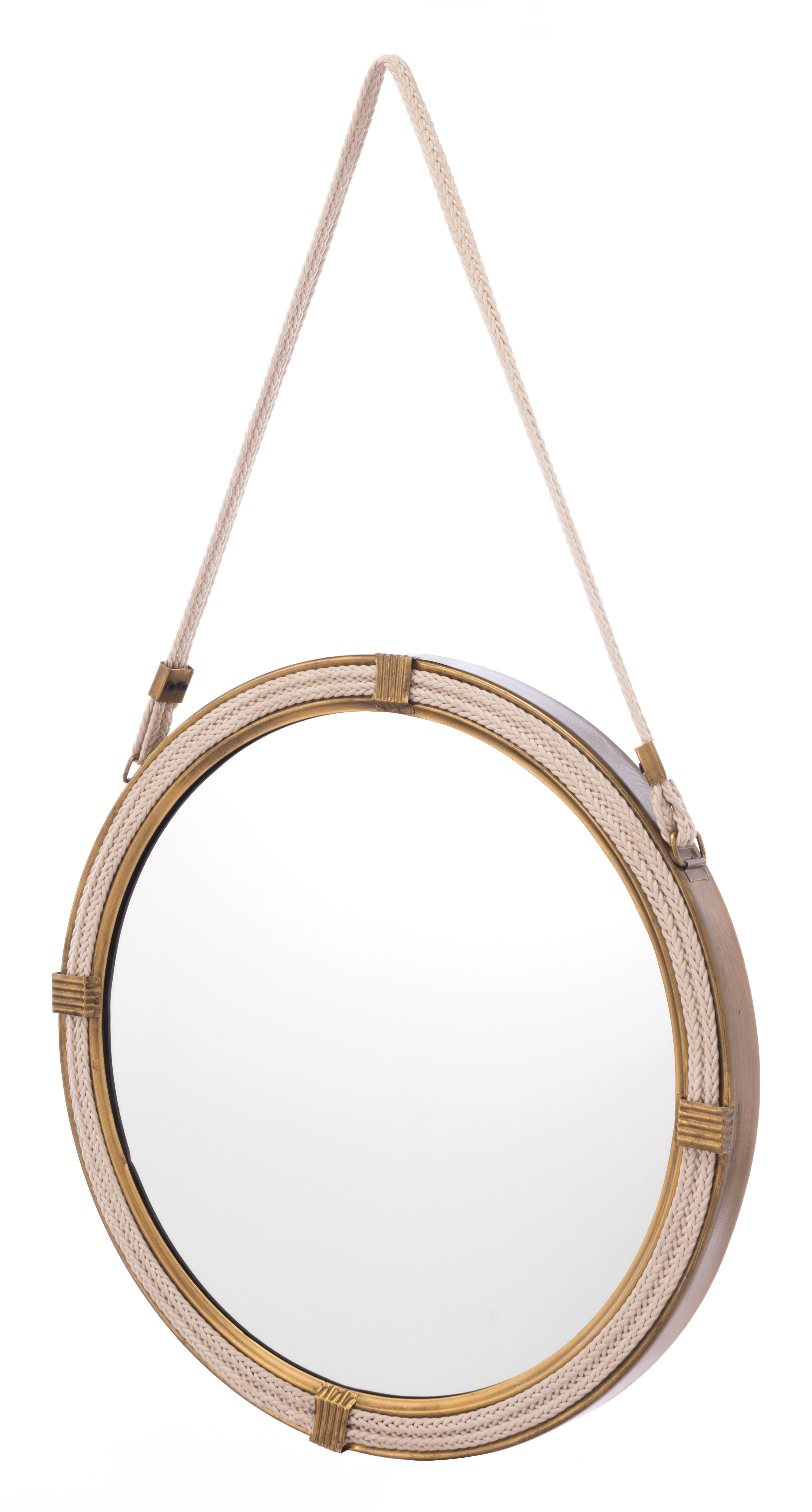 Knot Steel Round Hanging Mirror, Brass Finish (Gallery 18 of 20)