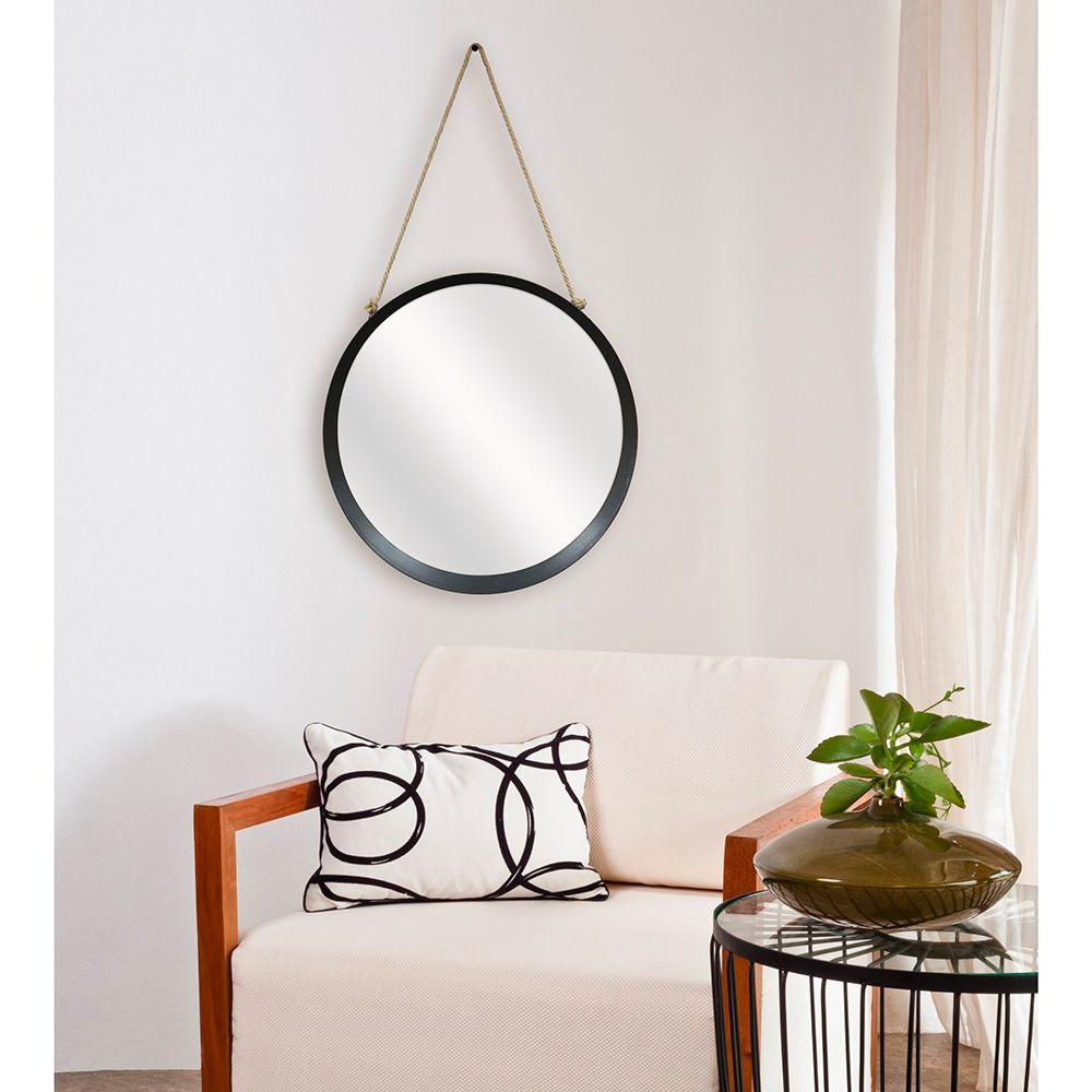 Knott Modern & Contemporary Accent Mirrors Within Trendy Captains 20 In. H X 20 In. W Round Framed Mirror With Rope Hanger In Black (Gallery 16 of 20)