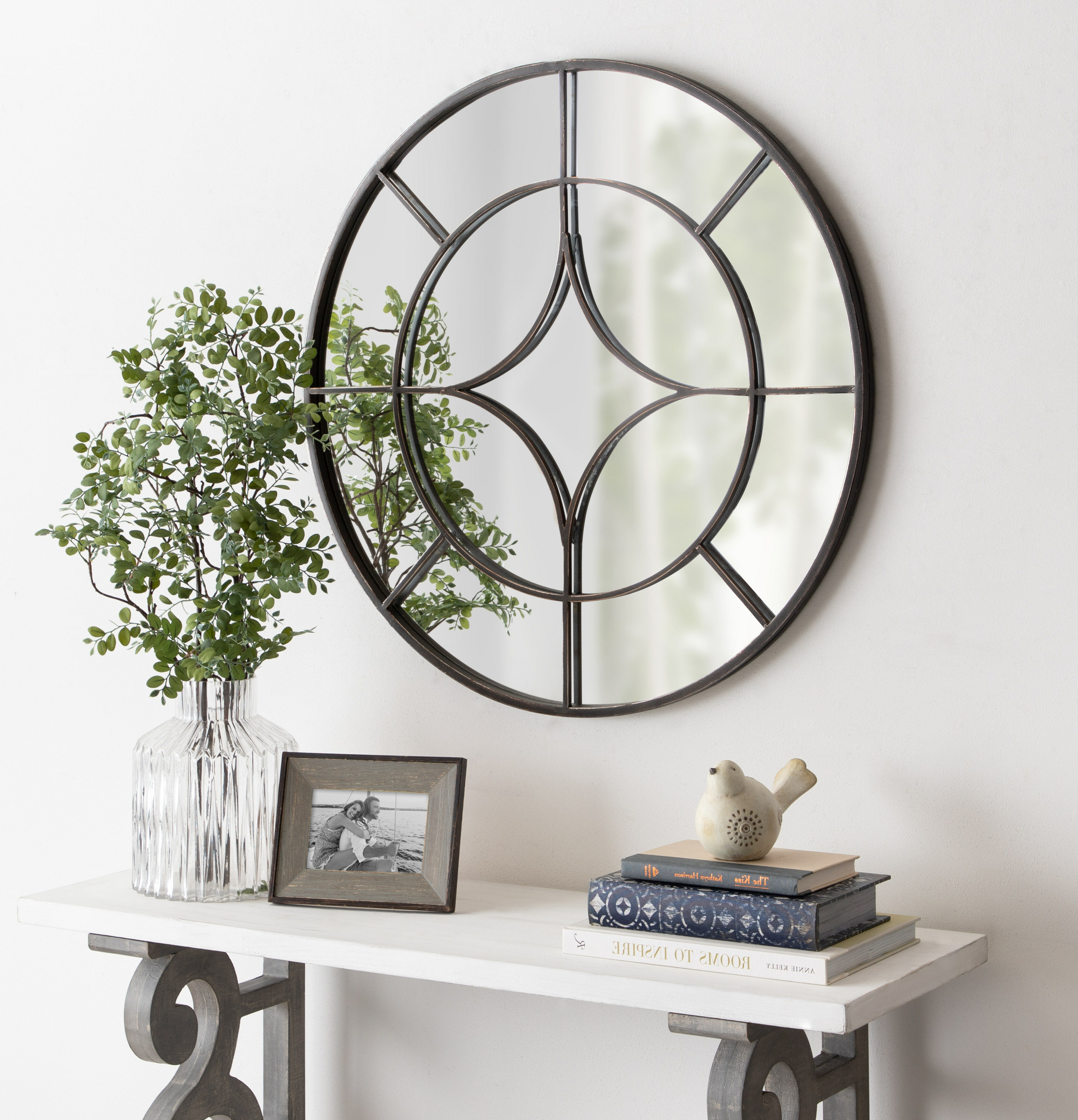 Koeller Industrial Metal Wall Mirrors Within Most Up To Date Hanska Industrial Modern Overlaid Beveled Frameless Accent Mirror (View 14 of 20)