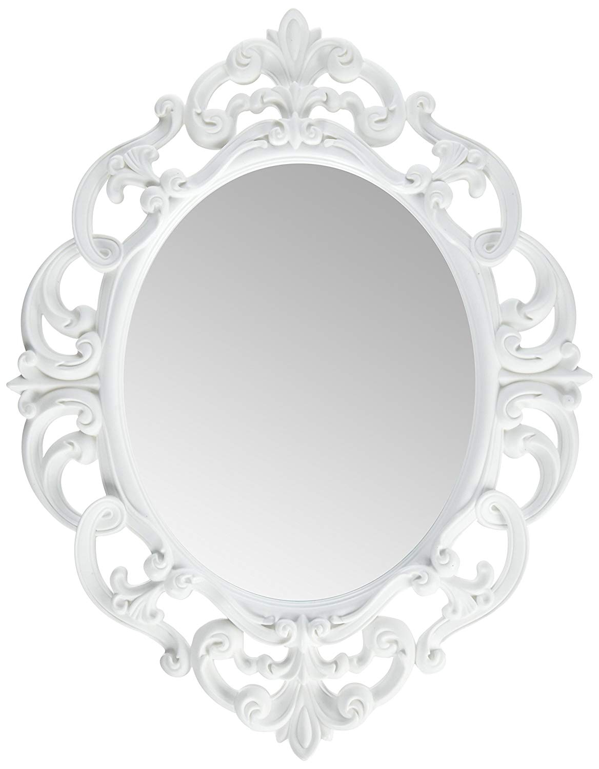 Kole White Oval Vintage Wall Mirror Intended For Newest Plastic Wall Mirrors (Gallery 1 of 20)
