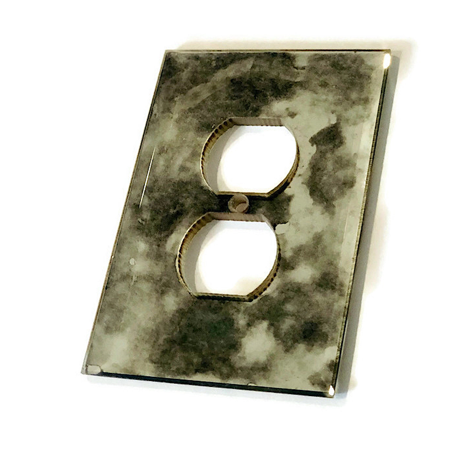 Kristy Rectangular Beveled Vanity Mirrors In Distressed For Widely Used Antiqued Beveled Mirror Outlet Cover Plate – Decorative Electrical Outlet  Glass Cover – Single Or Double Outlet Gang Available (Gallery 20 of 20)