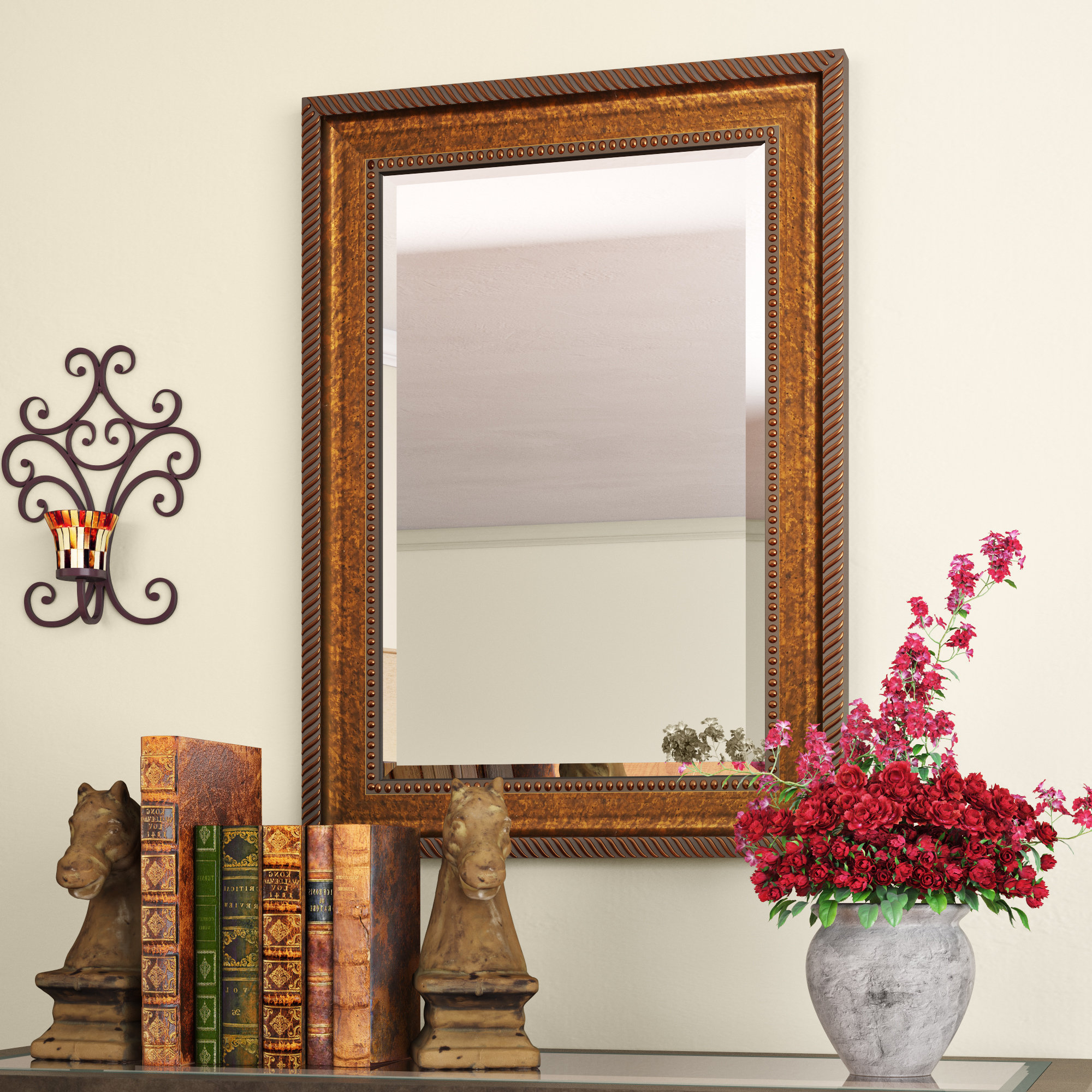 Kristy Rectangular Beveled Vanity Mirrors In Distressed Inside Most Popular Beveled Accent Mirror (View 15 of 20)