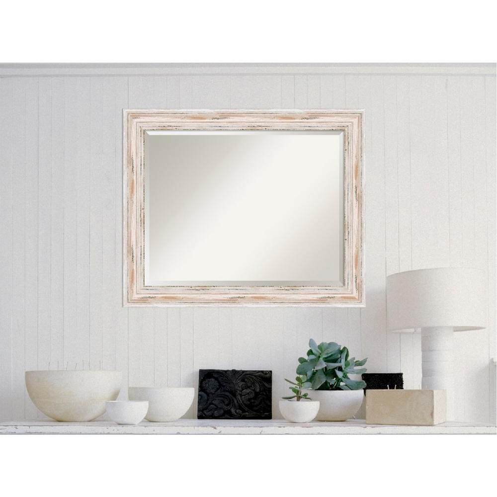 Kristy Rectangular Beveled Vanity Mirrors In Distressed Inside Well Liked Amanti Art Alexandria White Wash Wood 33 In. X 27 In (View 18 of 20)