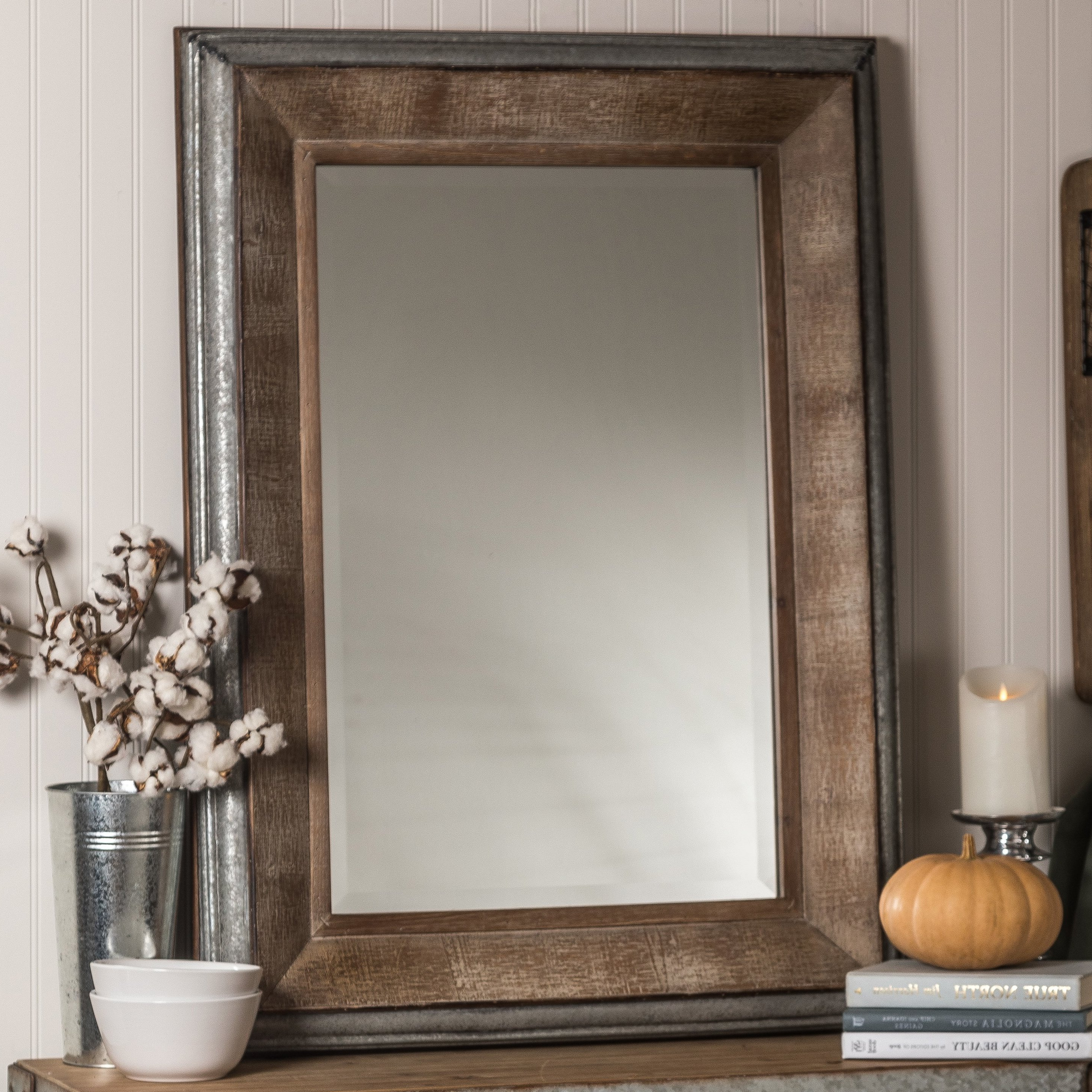 Kristy Rectangular Beveled Vanity Mirrors In Distressed With Best And Newest Hatten Modern & Contemporary Beveled Accent Mirror (View 14 of 20)