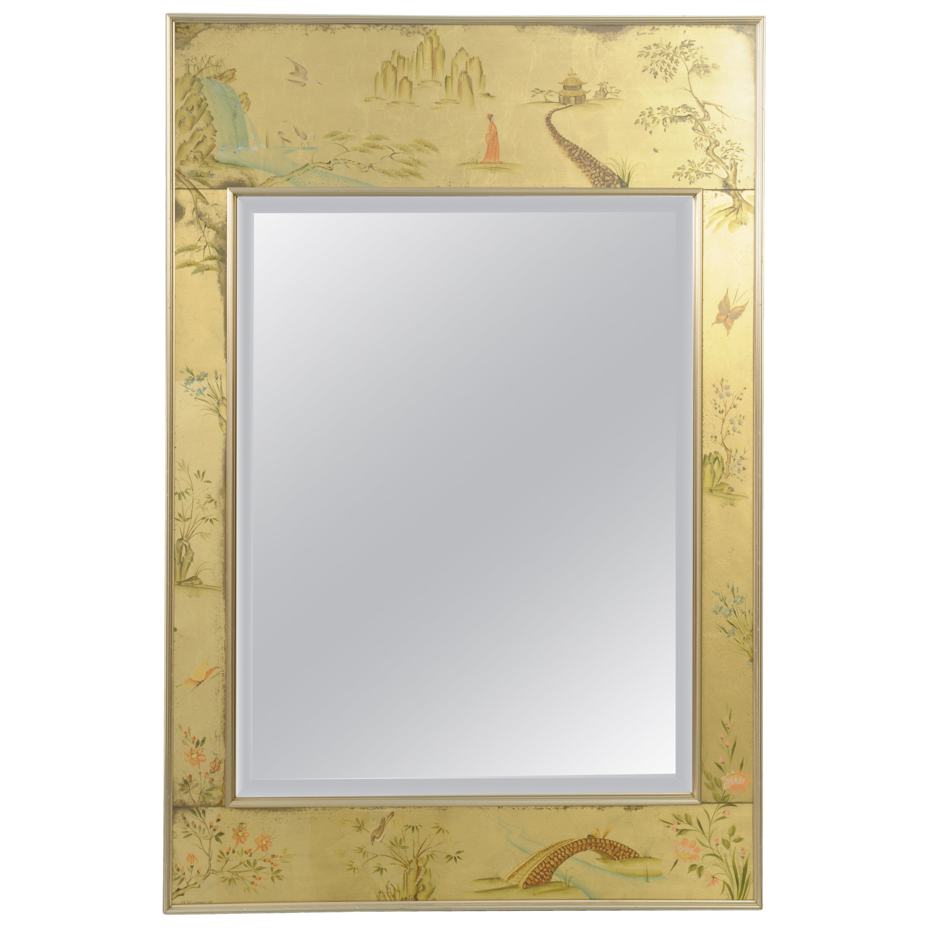 Labarge Chinoiserie Style Gold Églomisé Wall Mirror Reverse Painted Asian Signed Pertaining To Preferred Asian Style Wall Mirrors (Gallery 3 of 20)