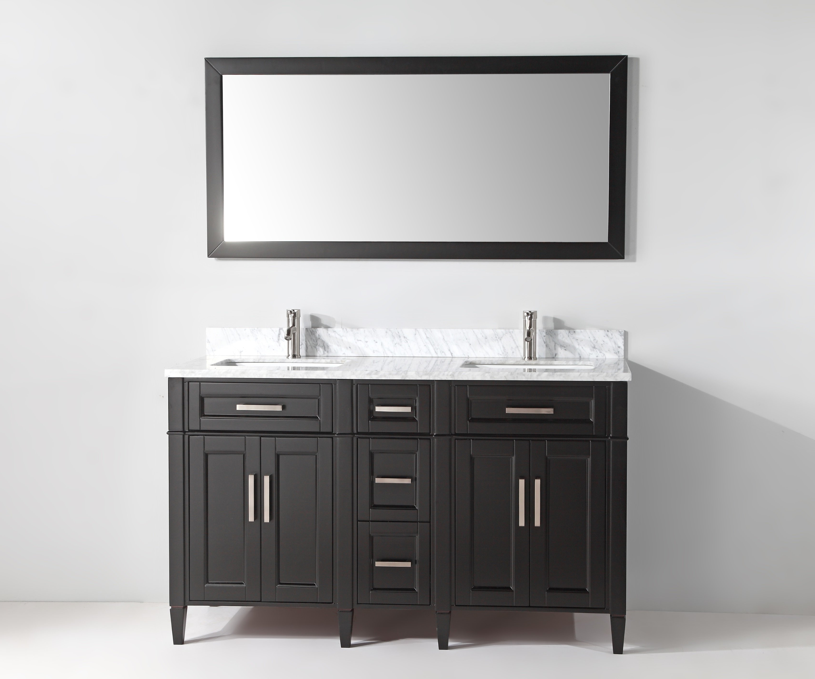 "Landover Rustic Distressed Bathroom/vanity Mirrors Within Most Popular Monadnock 60"" Double Bathroom Vanity Set With Mirror & Reviews (View 12 of 20)"