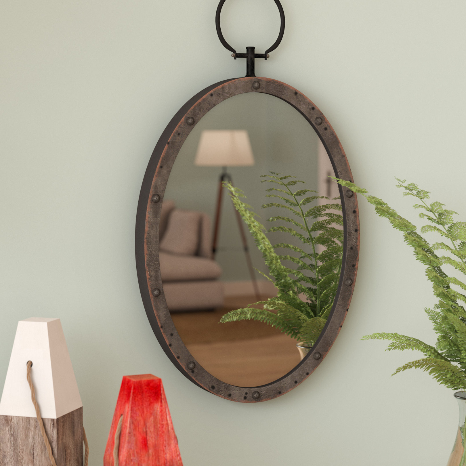 Lanford Oval Metal Accent Mirror For Newest Oval Metallic Accent Mirrors (View 7 of 20)