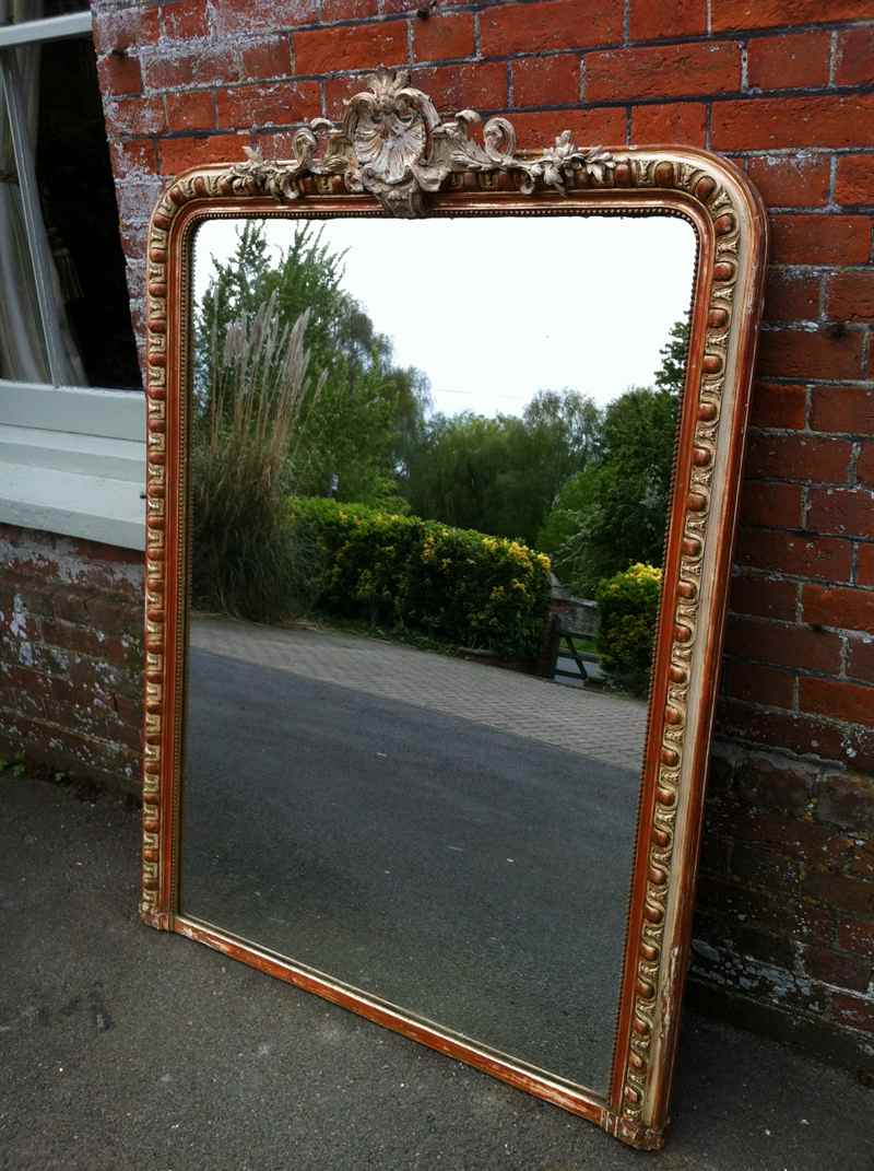 Large Antique French Cream And Gilt Wall Mirror. Within Popular Large Antique Wall Mirrors (Gallery 6 of 20)