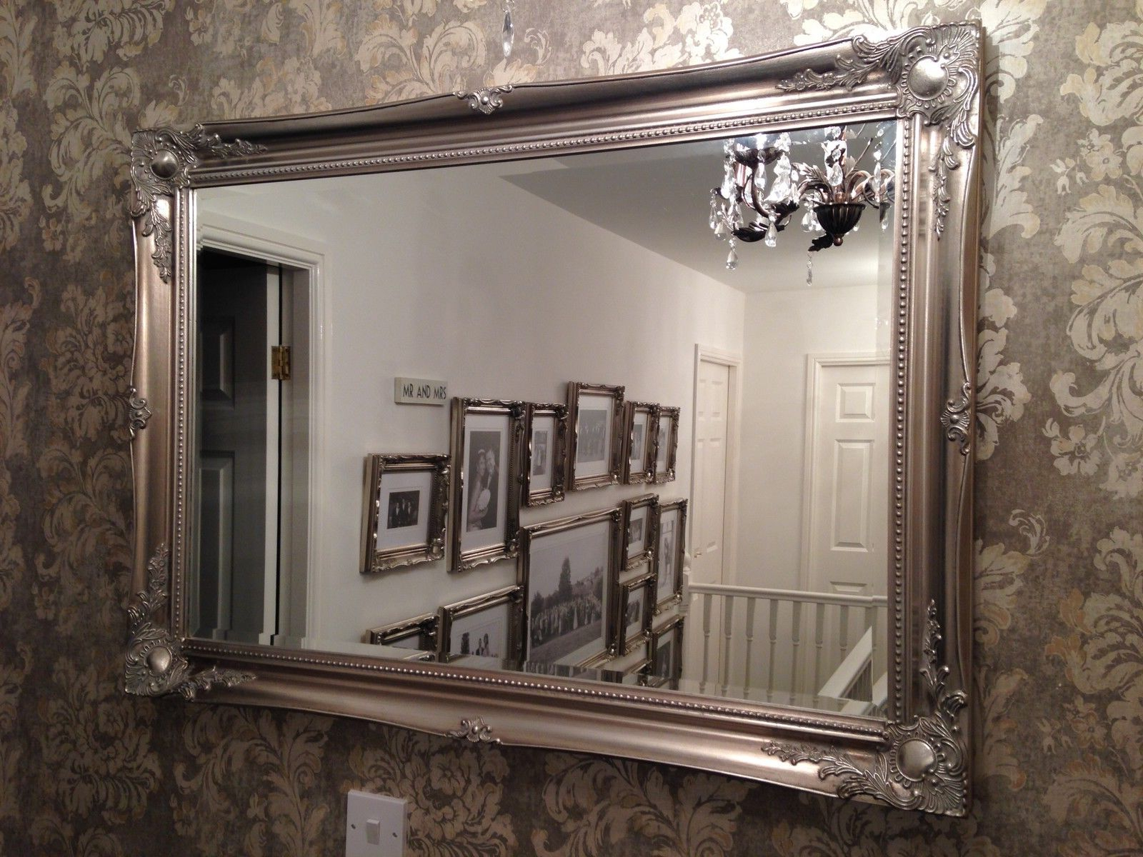 Large Antique Silver Elegant Wall Mirror – Free Uk Postage – Bevelled Mirror Throughout Widely Used Antique Silver Wall Mirrors (Gallery 11 of 20)