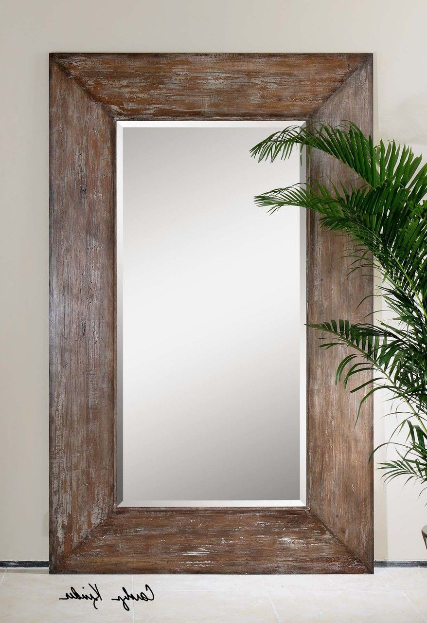 Large Antiqued Hickory Tone Beveled Wall Mirror – Langford Intended For Preferred Large Rustic Wall Mirrors (View 5 of 20)