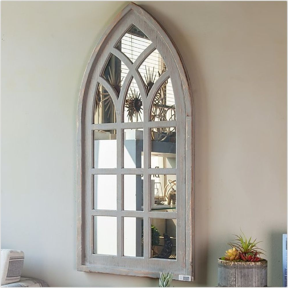 Large Arched Antique White Window Shaped Mirror Gothic Wood Indoor In Fashionable Window Cream Wood Wall Mirrors (View 12 of 20)