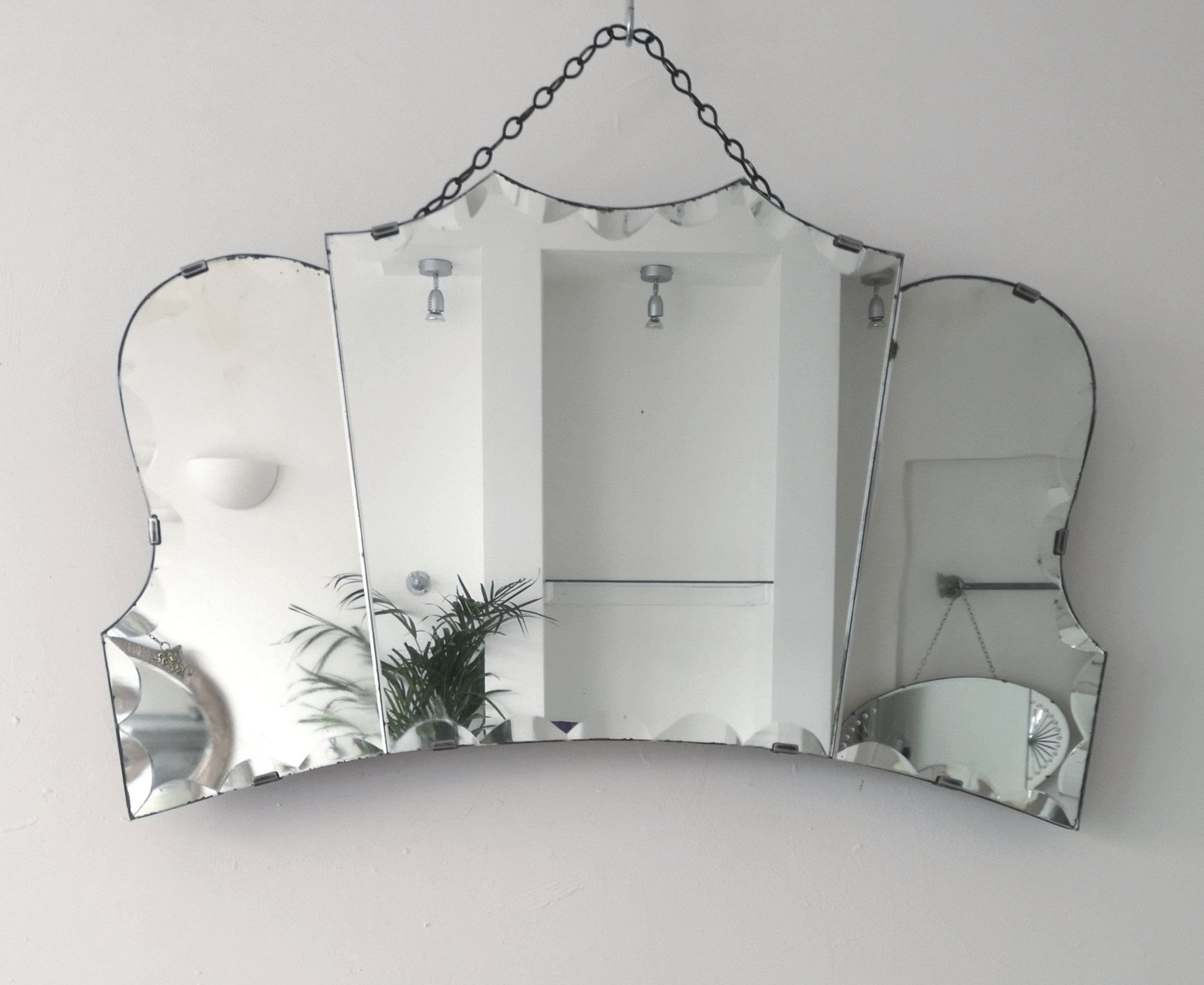 Large Art Deco Wall Mirrors With Regard To 2019 Large Art Deco Mirror Fan Mirror Large Art Deco Wall Mirror With Three Mirror Panels Frameless Mirror (View 3 of 20)