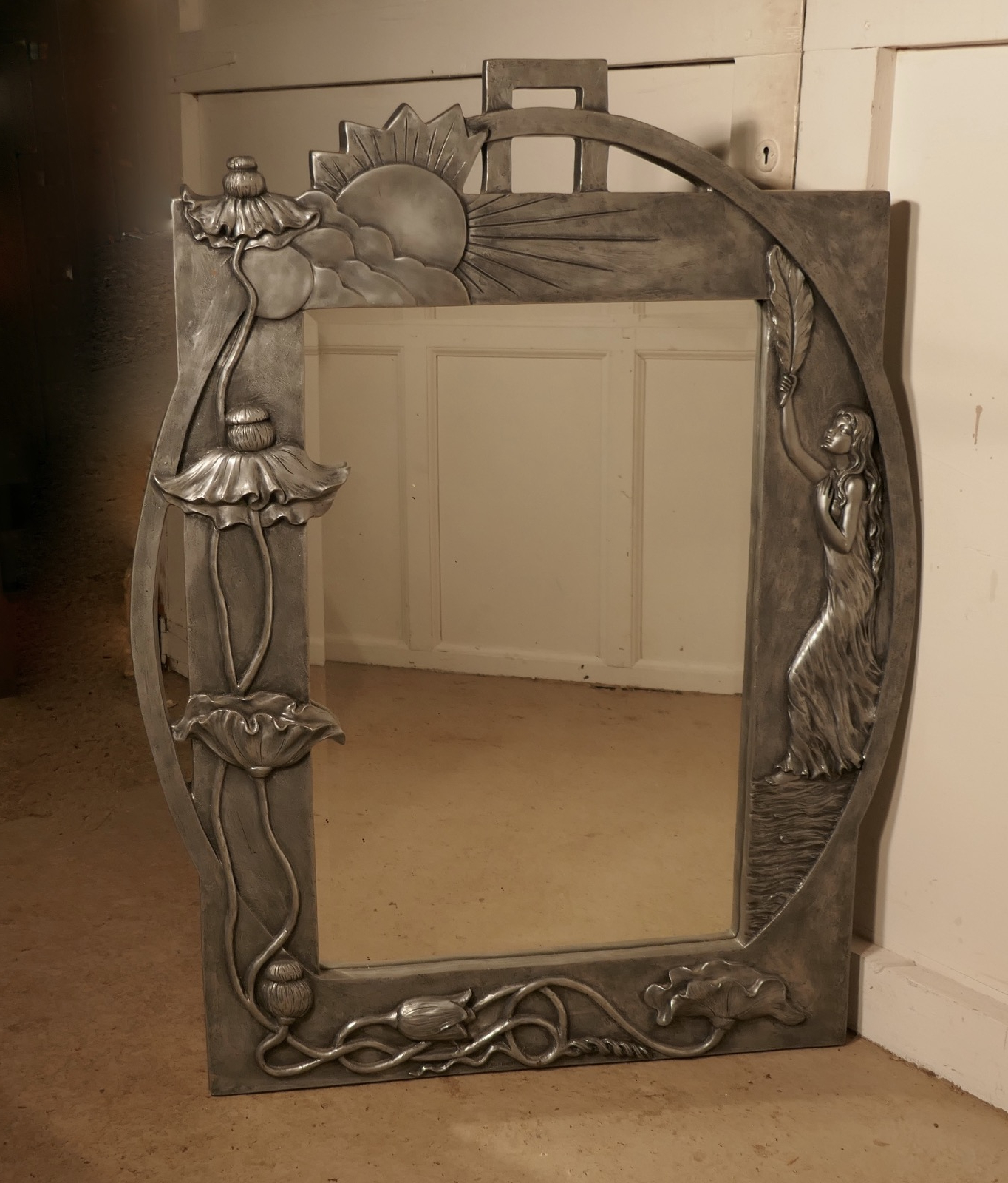 Large Art Nouveau Pewter Wall Mirror, Made In Francerosa In Popular Large Art Deco Wall Mirrors (View 11 of 20)