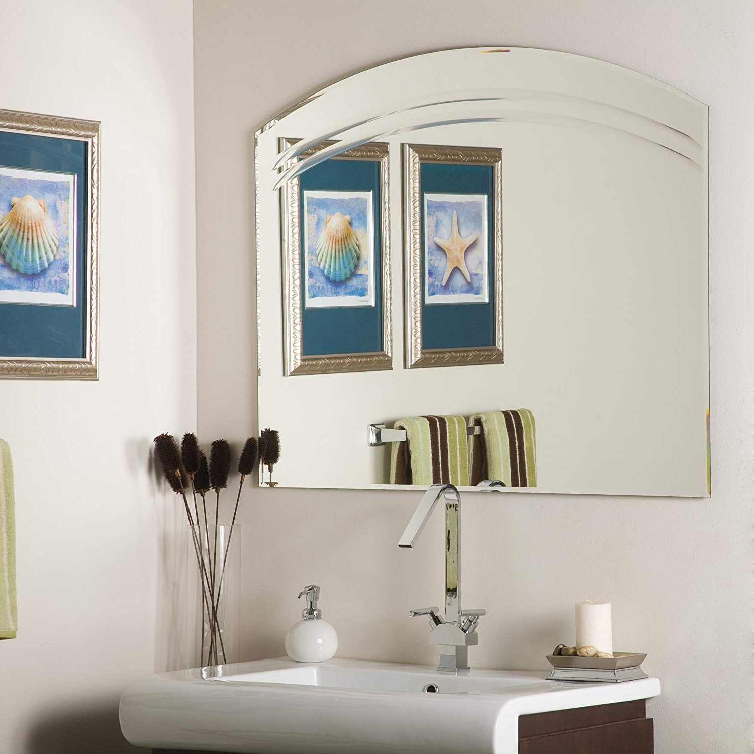 Large Bathroom Wall Mirrors Throughout Most Current Angel Large Frameless Bathroom Wall Mirror (View 12 of 20)