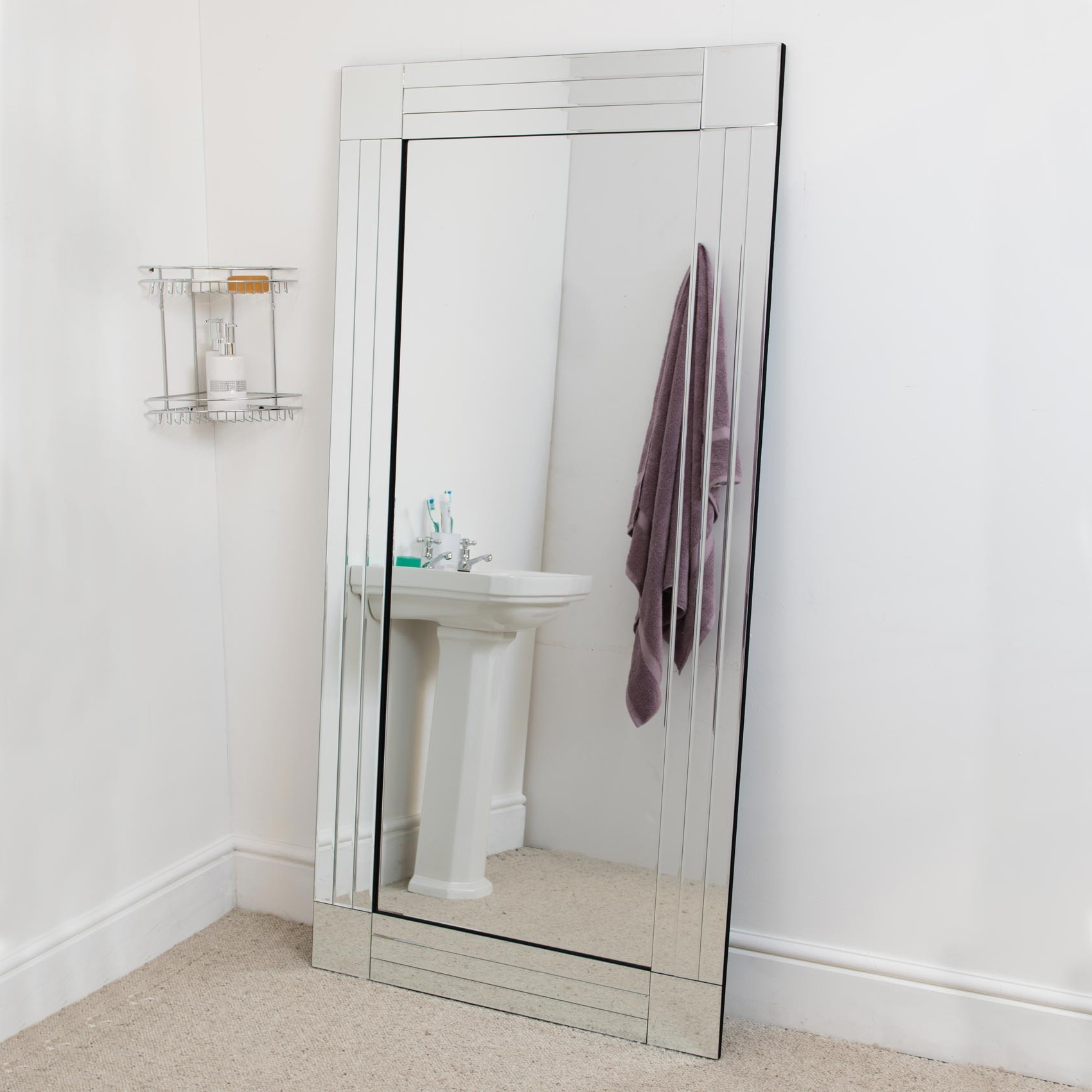 Large Bathroom Wall Mirrors Within Most Current Details About Large Bathroom Bevelled Edge Venetian Wall Mirror 5Ft9 X 2Ft9 174Cm X 85Cm (View 15 of 20)