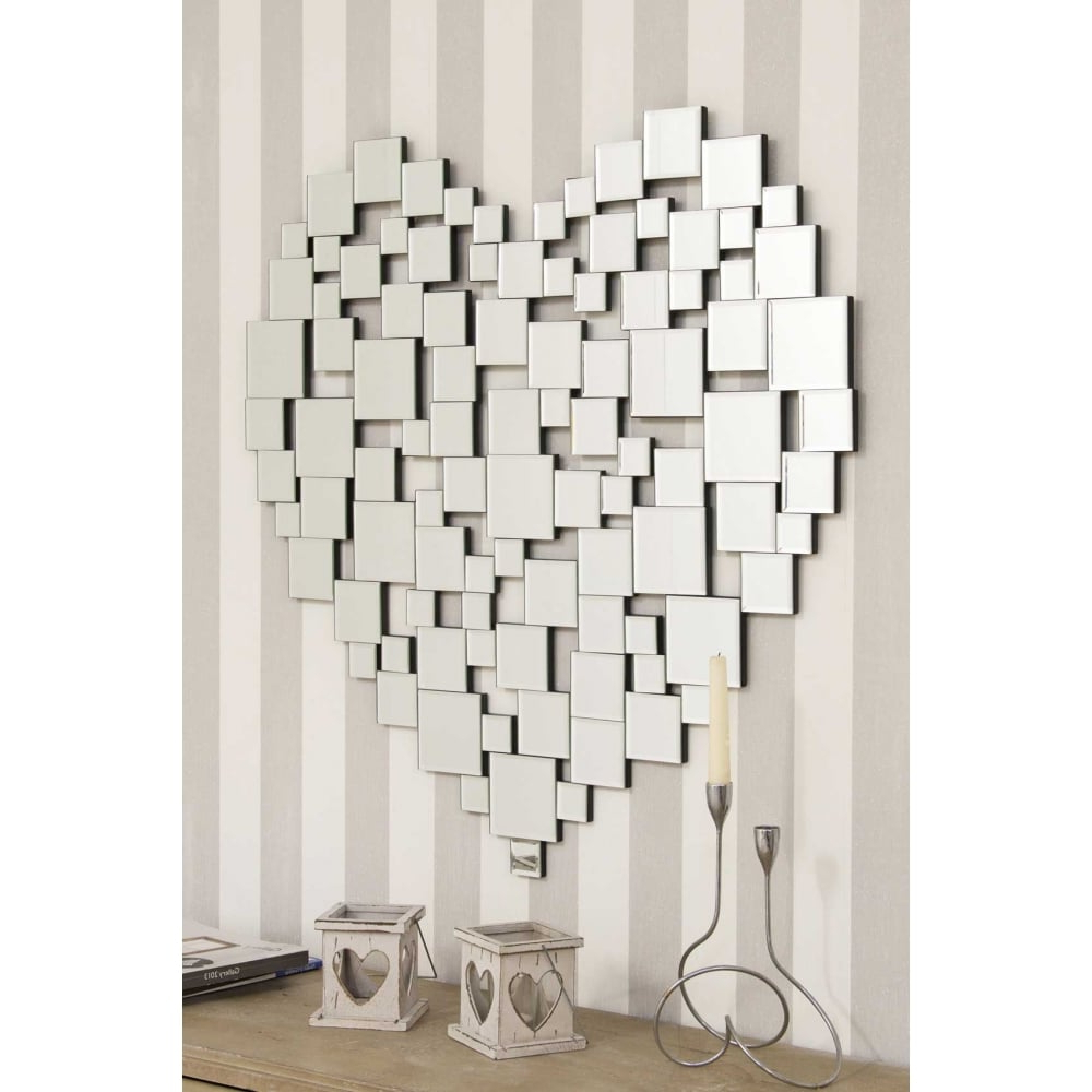 Large Beautiful Modern Heart Shape Venetian Wall Mirror In Trendy Modern Large Wall Mirrors (View 9 of 20)