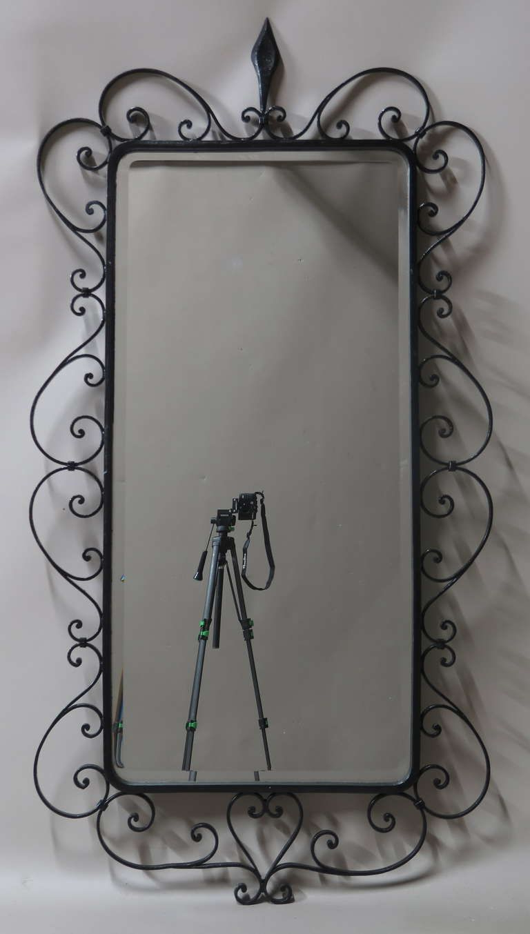 Large Beveled Mirror In A Wrought Iron Frame – France For Fashionable Wrought Iron Wall Mirrors (View 16 of 20)