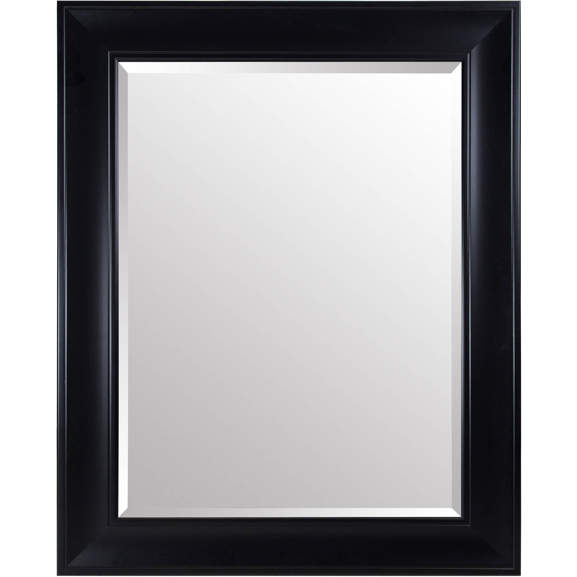 Large Beveled Wall Mirrors With Regard To Popular Gallery Solutions Large 39X49 Beveled Wall Mirror With Black Satin Frame (Gallery 14 of 20)